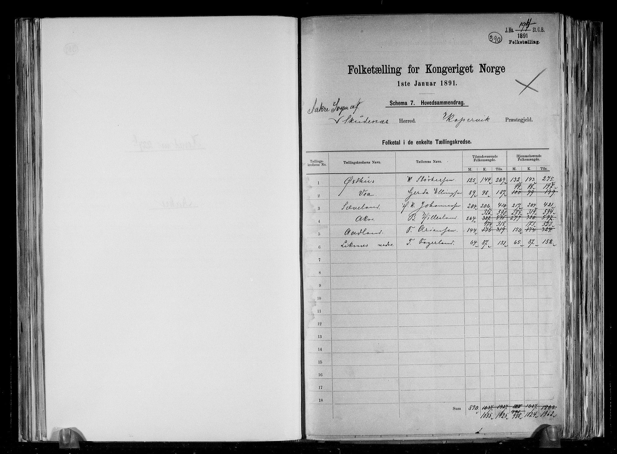 RA, Folketelling 1891 for 1150 Skudenes herred, 1891, s. 3