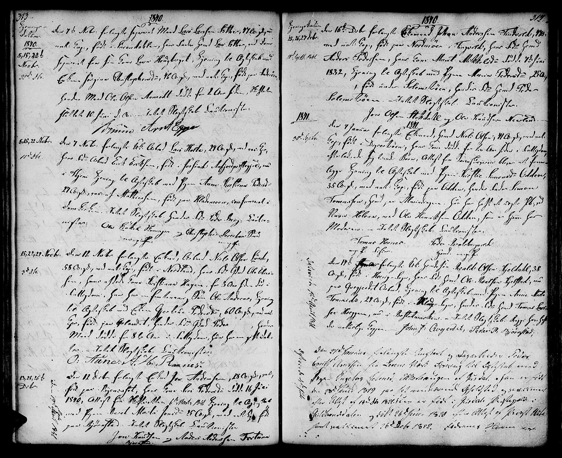 SAT, Ministerialprotokoller, klokkerbøker og fødselsregistre - Sør-Trøndelag, 604/L0181: Ministerialbok nr. 604A02, 1798-1817, s. 313-314