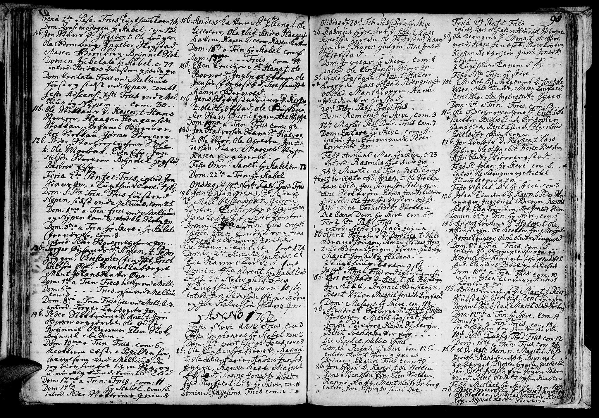 SAT, Ministerialprotokoller, klokkerbøker og fødselsregistre - Sør-Trøndelag, 691/L1059: Ministerialbok nr. 691A01 /3, 1740-1767, s. 98