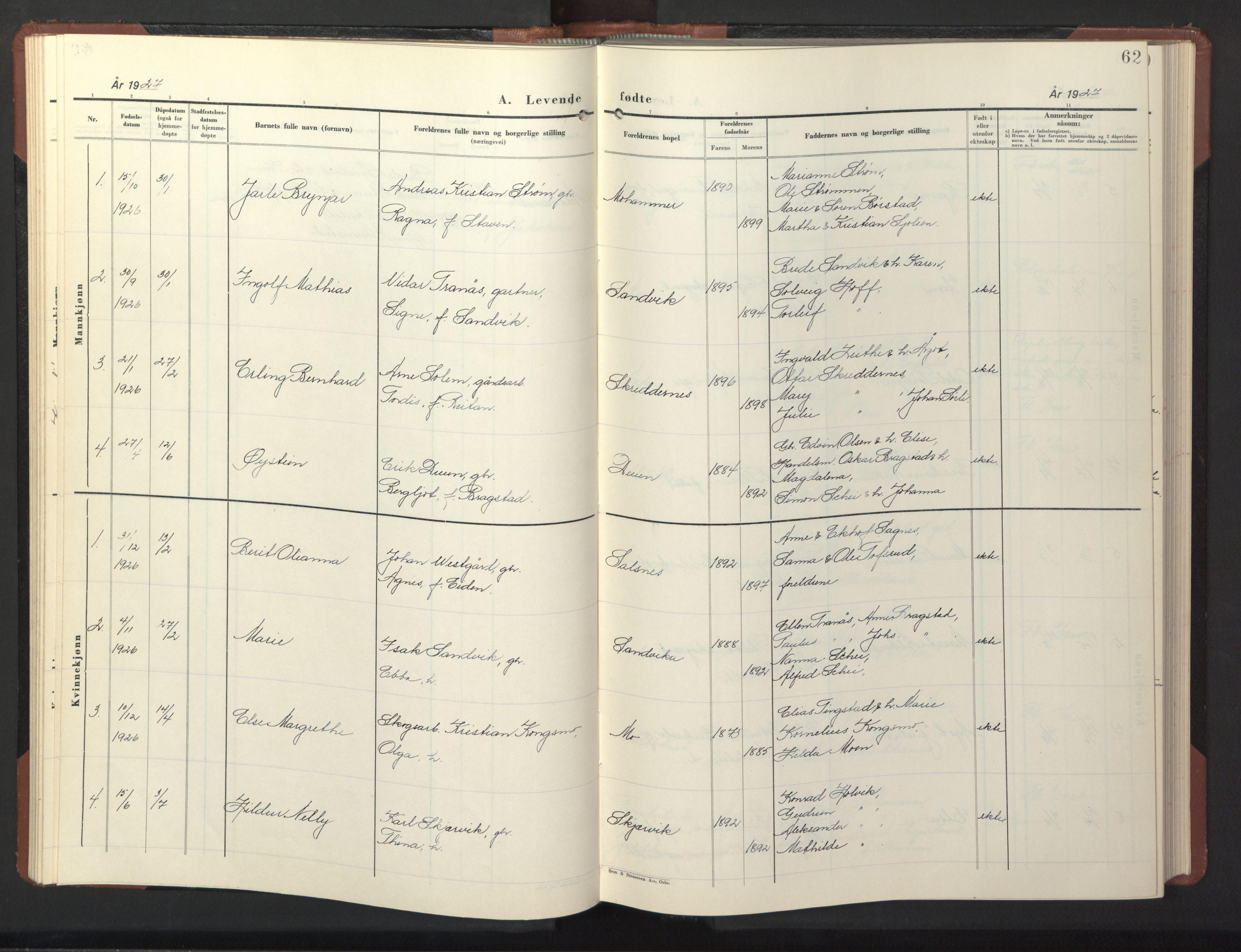 SAT, Ministerialprotokoller, klokkerbøker og fødselsregistre - Nord-Trøndelag, 773/L0625: Klokkerbok nr. 773C01, 1910-1952, s. 62