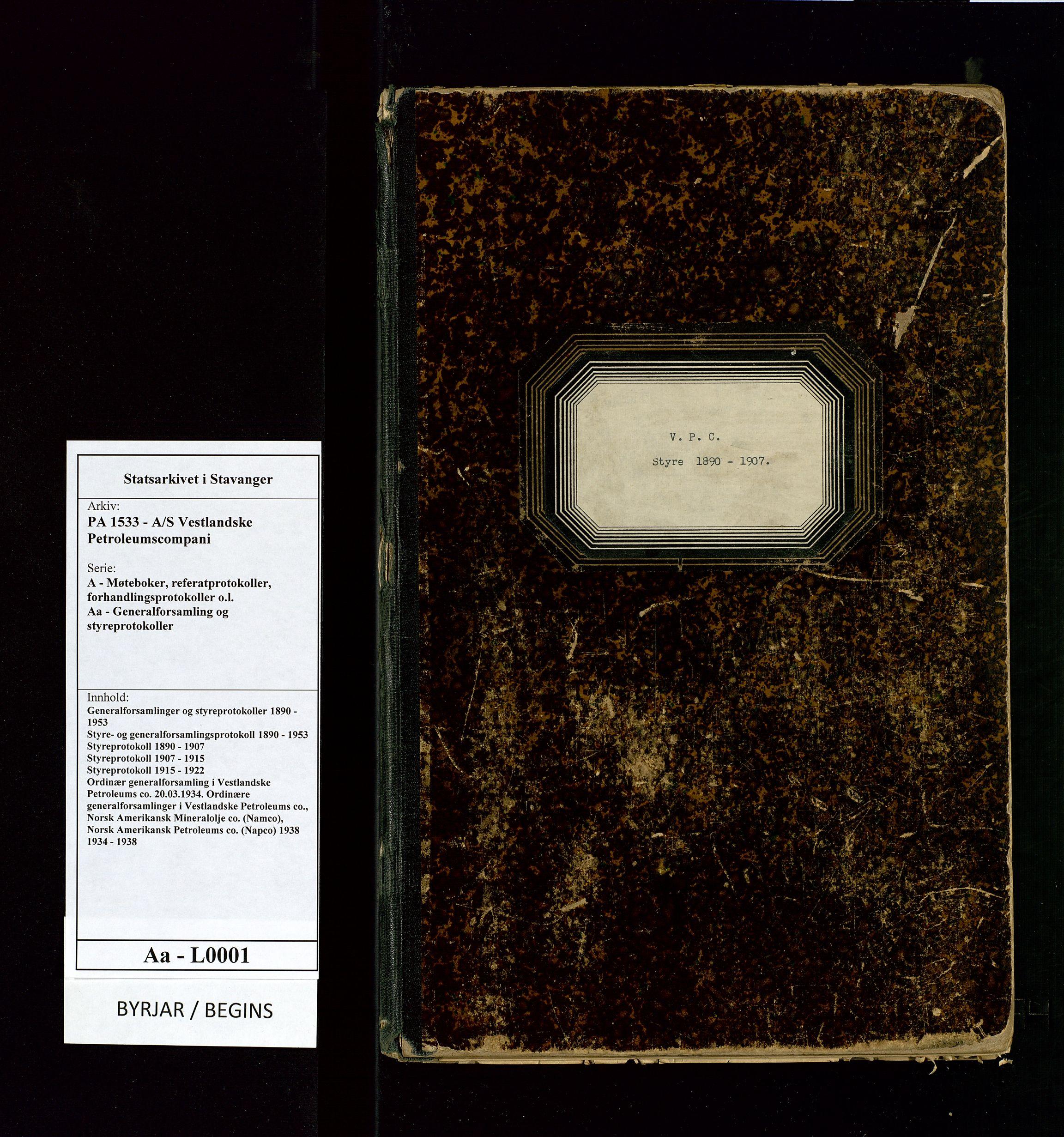 SAST, PA 1533 - A/S Vestlandske Petroleumscompani, A/Aa/L0001: Generalforsamlinger og styreprotokoller, 1890-1907, s. 1