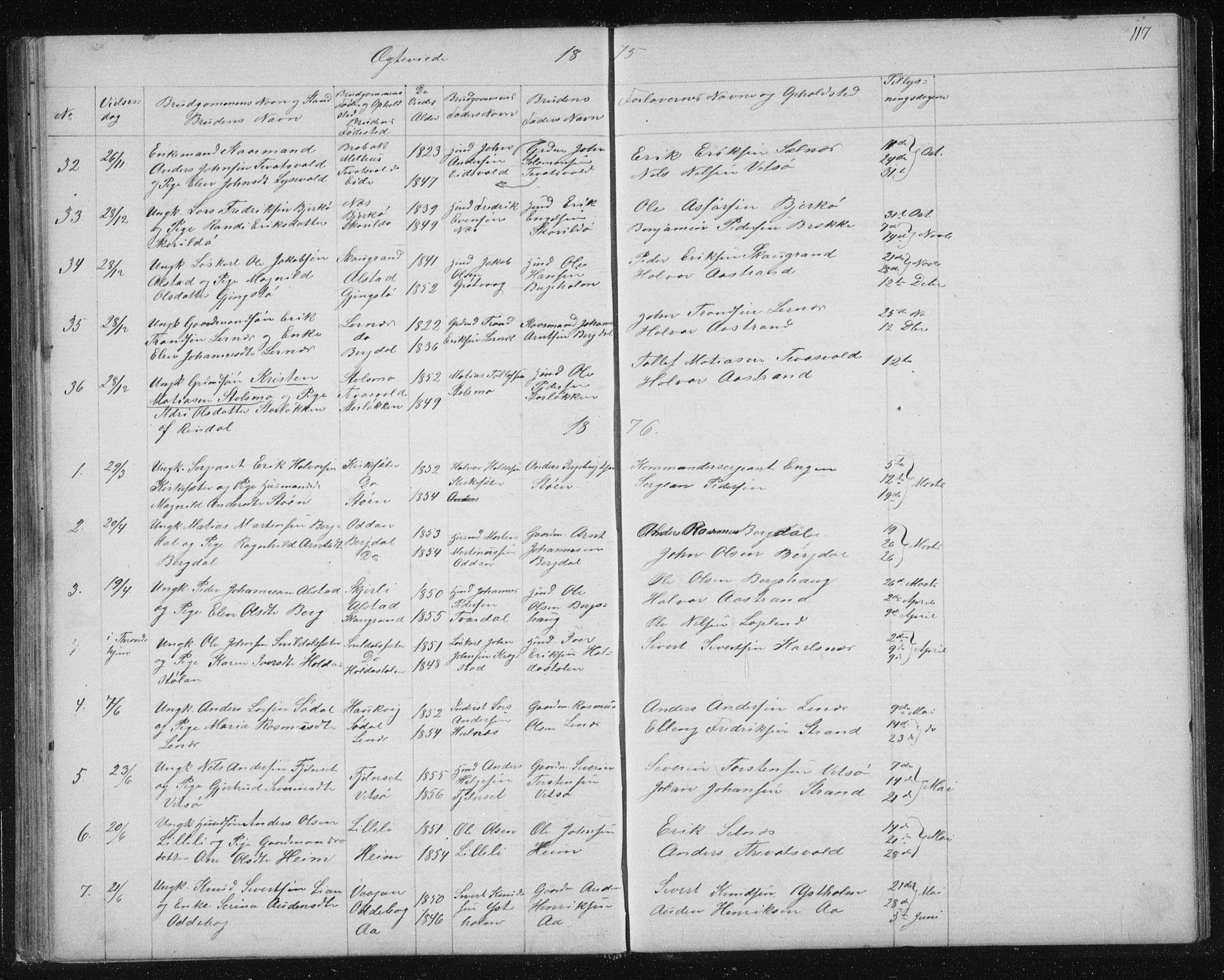 SAT, Ministerialprotokoller, klokkerbøker og fødselsregistre - Sør-Trøndelag, 630/L0503: Klokkerbok nr. 630C01, 1869-1878, s. 117