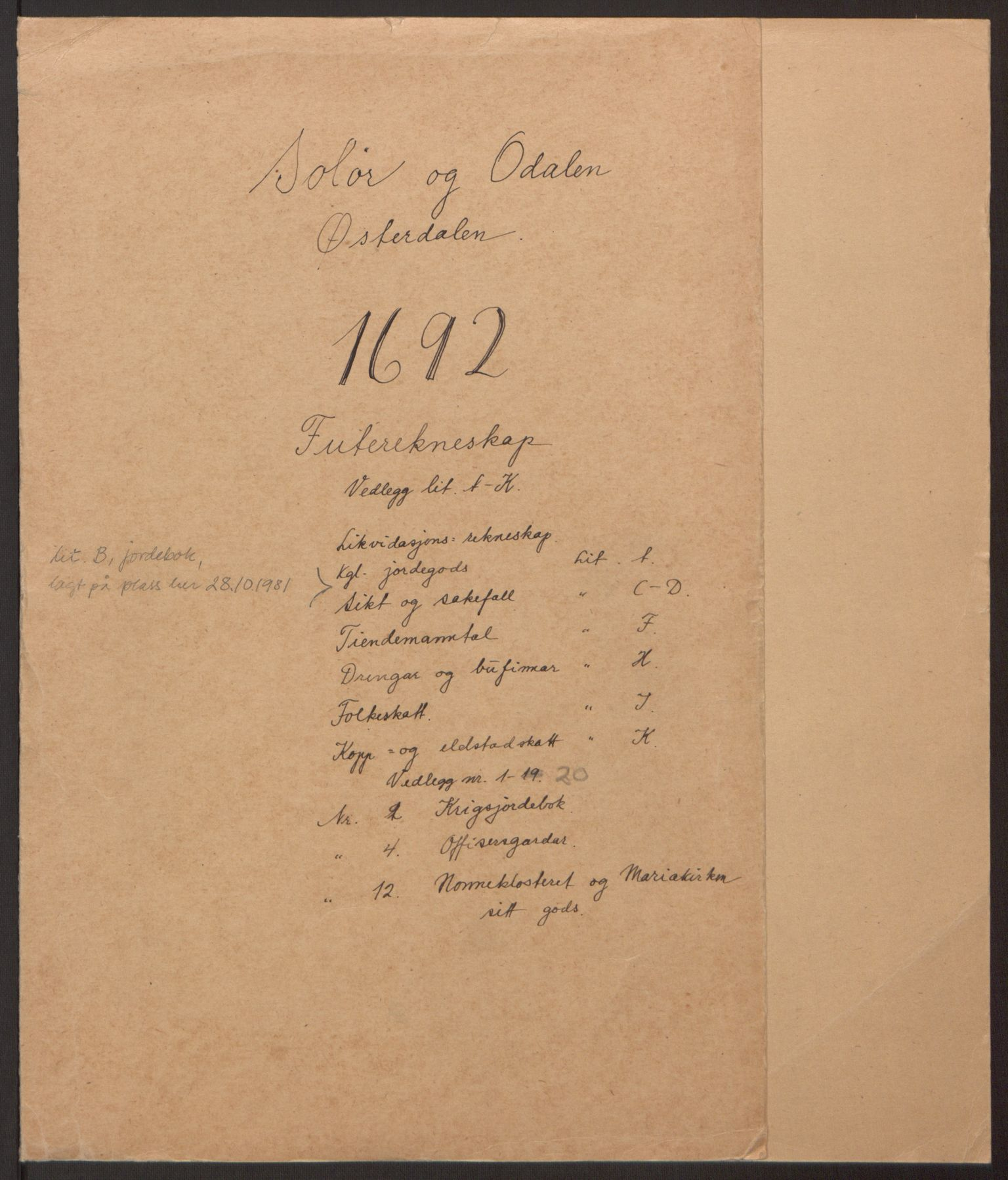 RA, Rentekammeret inntil 1814, Reviderte regnskaper, Fogderegnskap, R13/L0830: Fogderegnskap Solør, Odal og Østerdal, 1692, s. 2