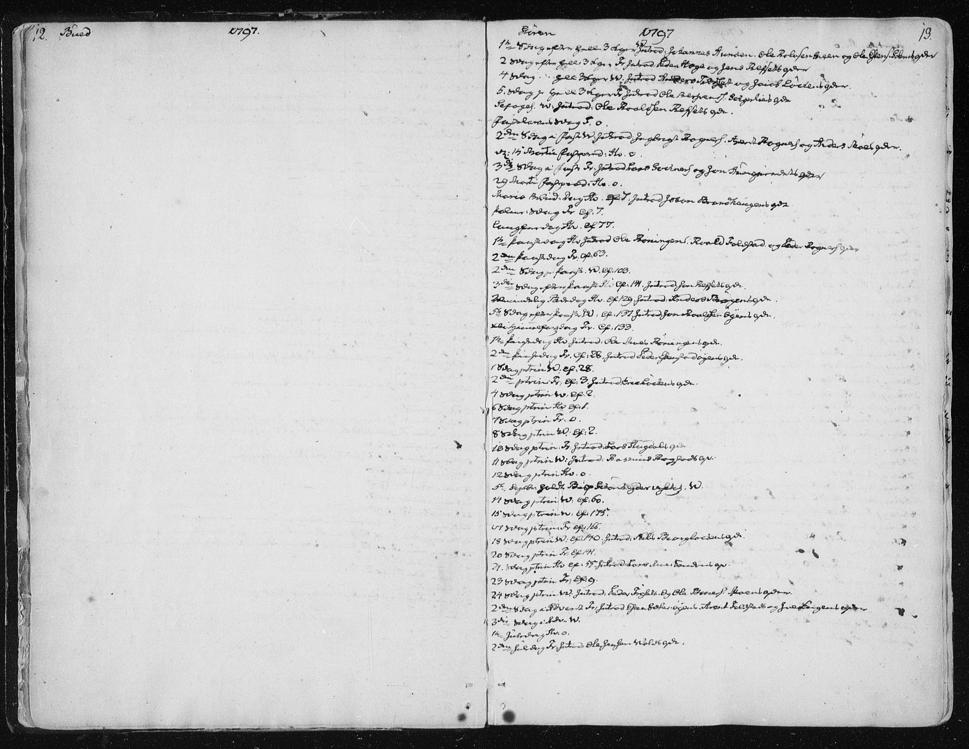 SAT, Ministerialprotokoller, klokkerbøker og fødselsregistre - Sør-Trøndelag, 687/L0992: Ministerialbok nr. 687A03 /1, 1788-1815, s. 12-13