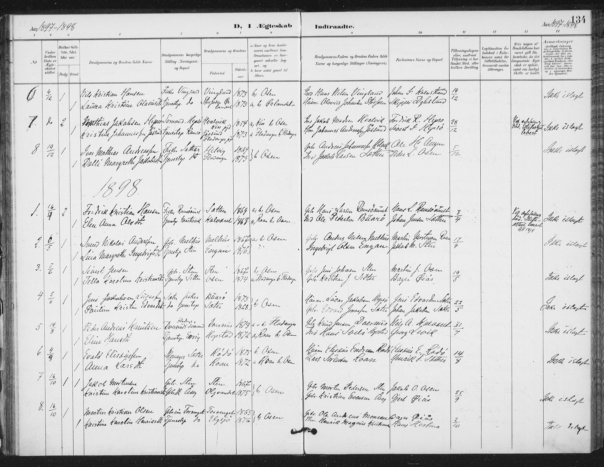 SAT, Ministerialprotokoller, klokkerbøker og fødselsregistre - Sør-Trøndelag, 658/L0723: Ministerialbok nr. 658A02, 1897-1912, s. 134