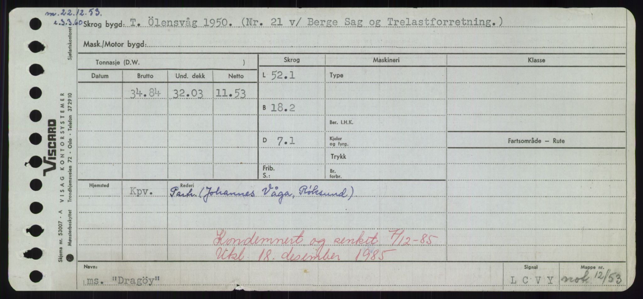 RA, Sjøfartsdirektoratet med forløpere, Skipsmålingen, H/Hd/L0008: Fartøy, C-D, s. 623