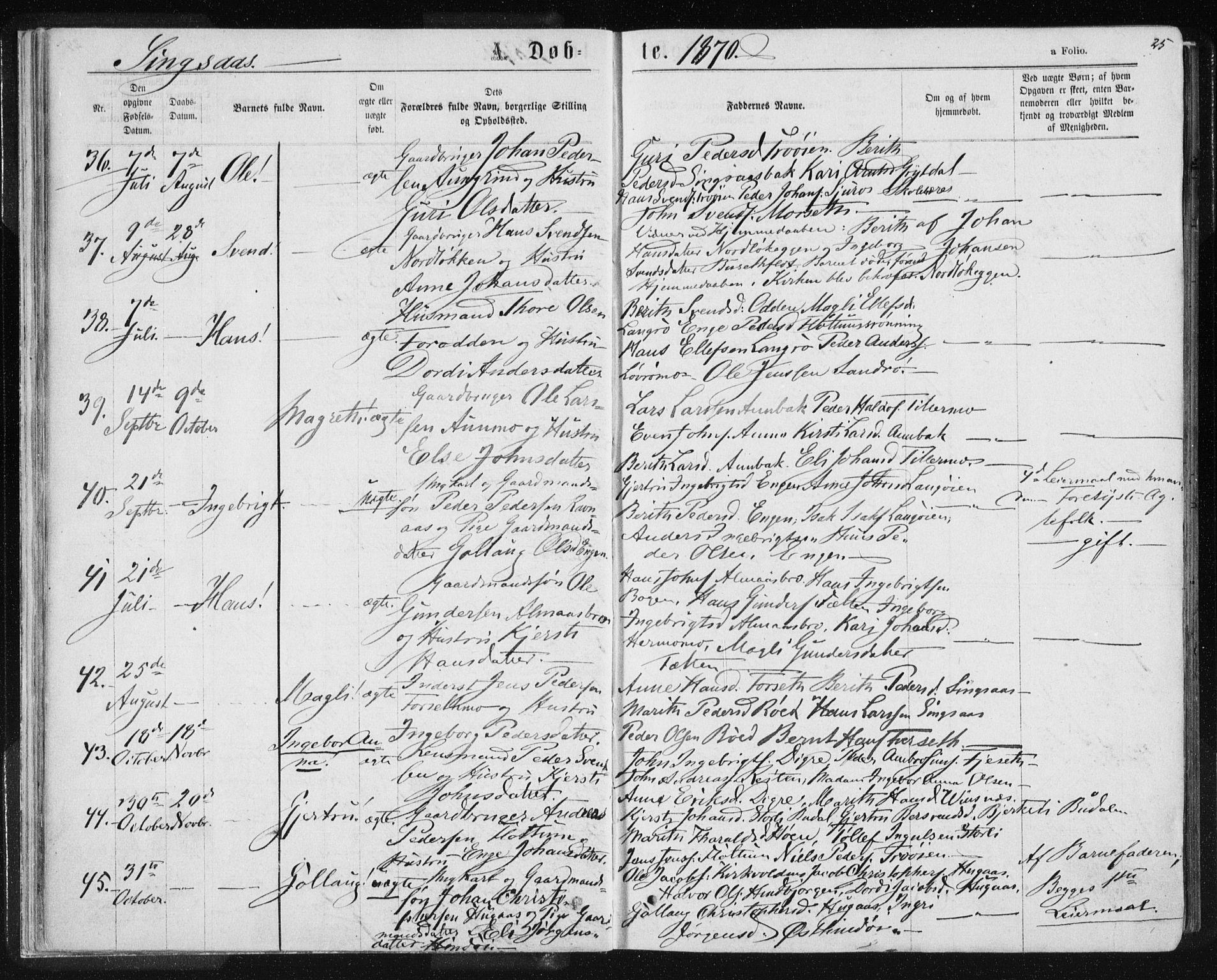 SAT, Ministerialprotokoller, klokkerbøker og fødselsregistre - Sør-Trøndelag, 685/L0970: Ministerialbok nr. 685A08 /2, 1870-1878, s. 25