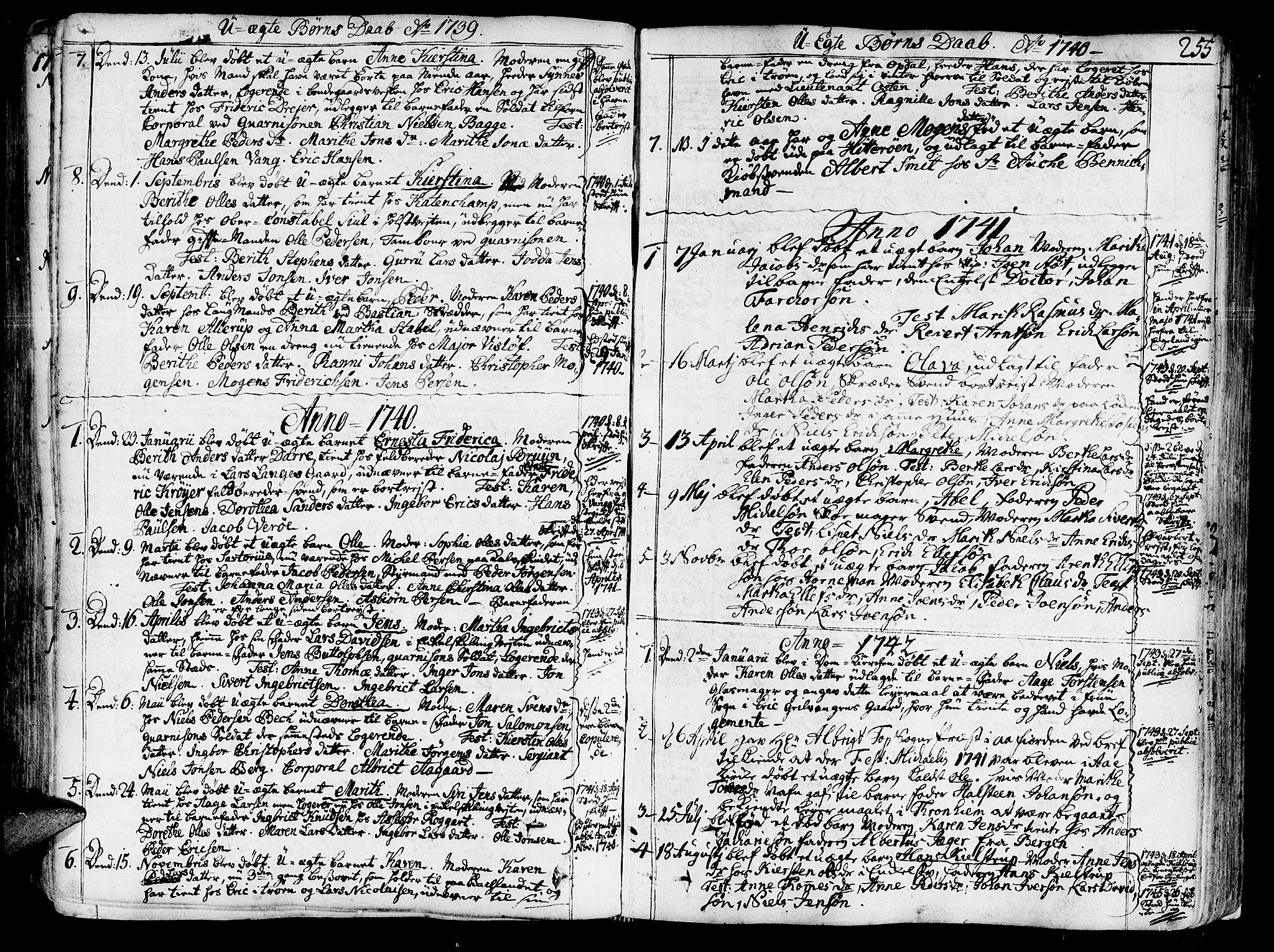 SAT, Ministerialprotokoller, klokkerbøker og fødselsregistre - Sør-Trøndelag, 602/L0103: Ministerialbok nr. 602A01, 1732-1774, s. 255