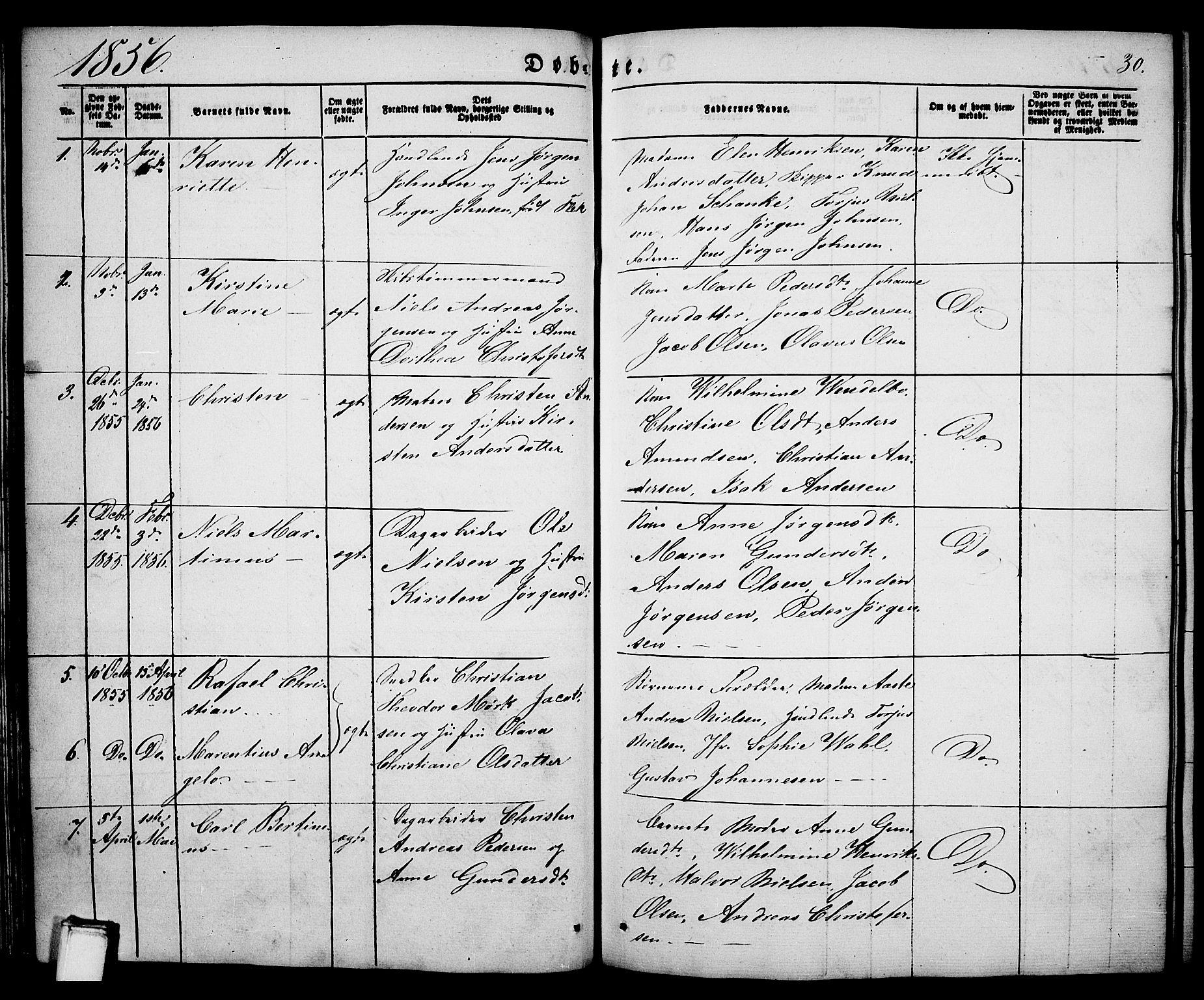 SAKO, Porsgrunn kirkebøker , G/Ga/L0002: Klokkerbok nr. I 2, 1847-1877, s. 30