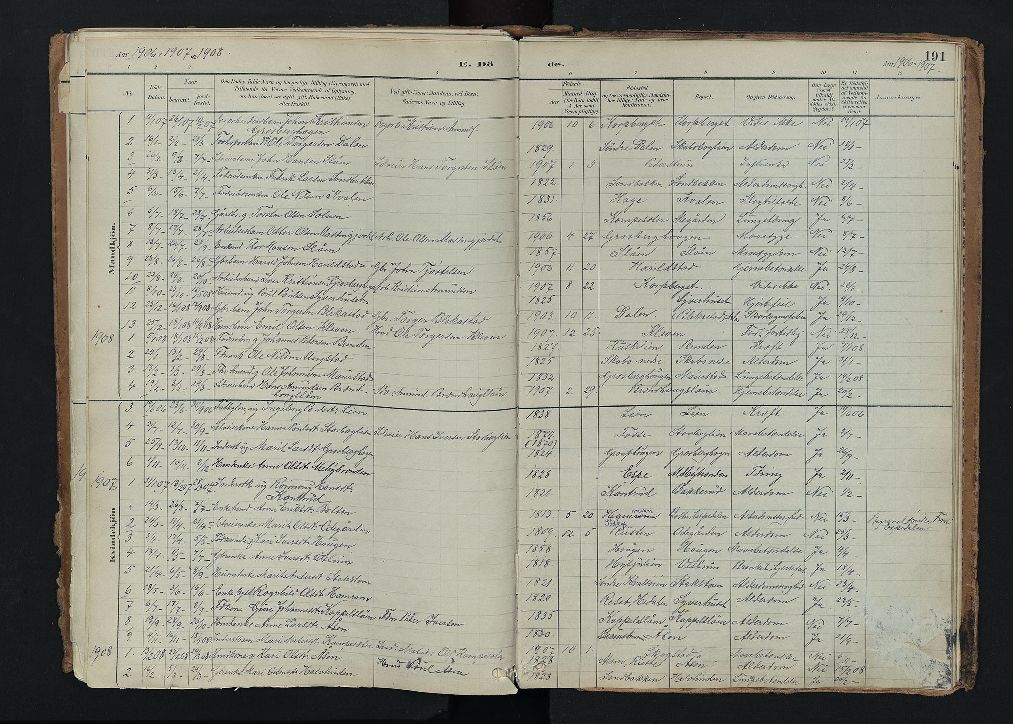 SAH, Nord-Fron prestekontor, Ministerialbok nr. 5, 1884-1914, s. 191