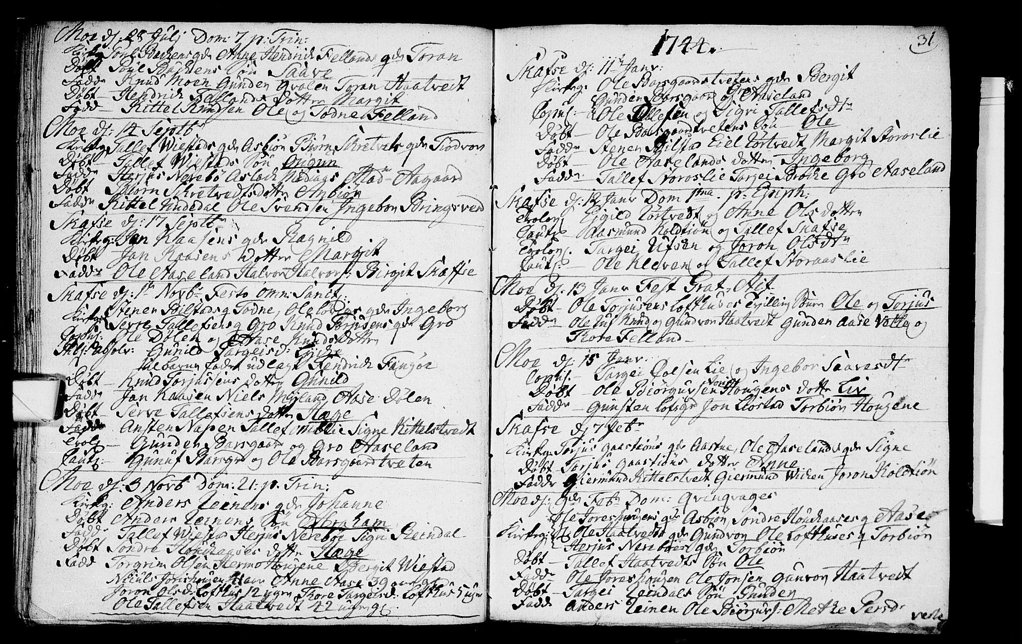 SAKO, Mo kirkebøker, F/Fa/L0001: Ministerialbok nr. I 1, 1724-1748, s. 31
