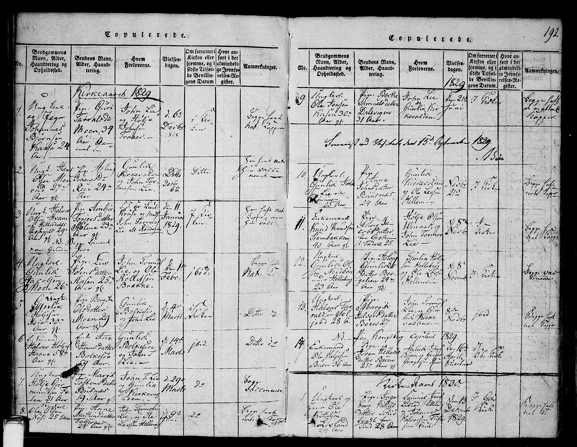 SAKO, Gransherad kirkebøker, G/Ga/L0001: Klokkerbok nr. I 1, 1815-1842, s. 192