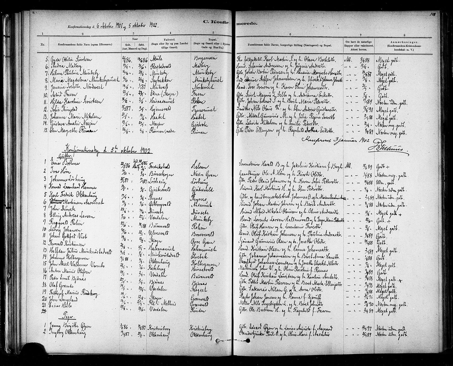 SAT, Ministerialprotokoller, klokkerbøker og fødselsregistre - Nord-Trøndelag, 721/L0208: Klokkerbok nr. 721C01, 1880-1917, s. 140