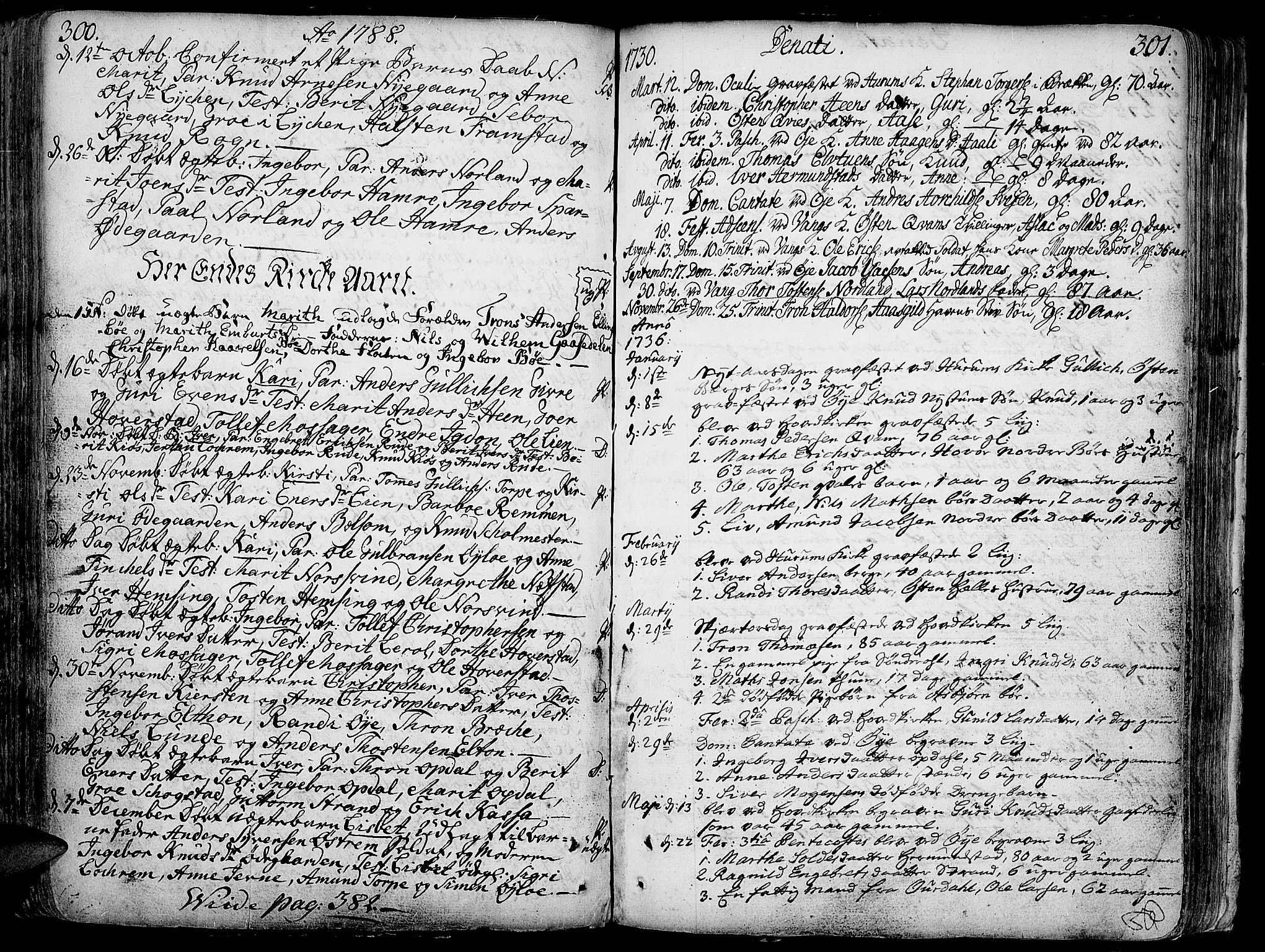 SAH, Vang prestekontor, Valdres, Ministerialbok nr. 1, 1730-1796, s. 300-301