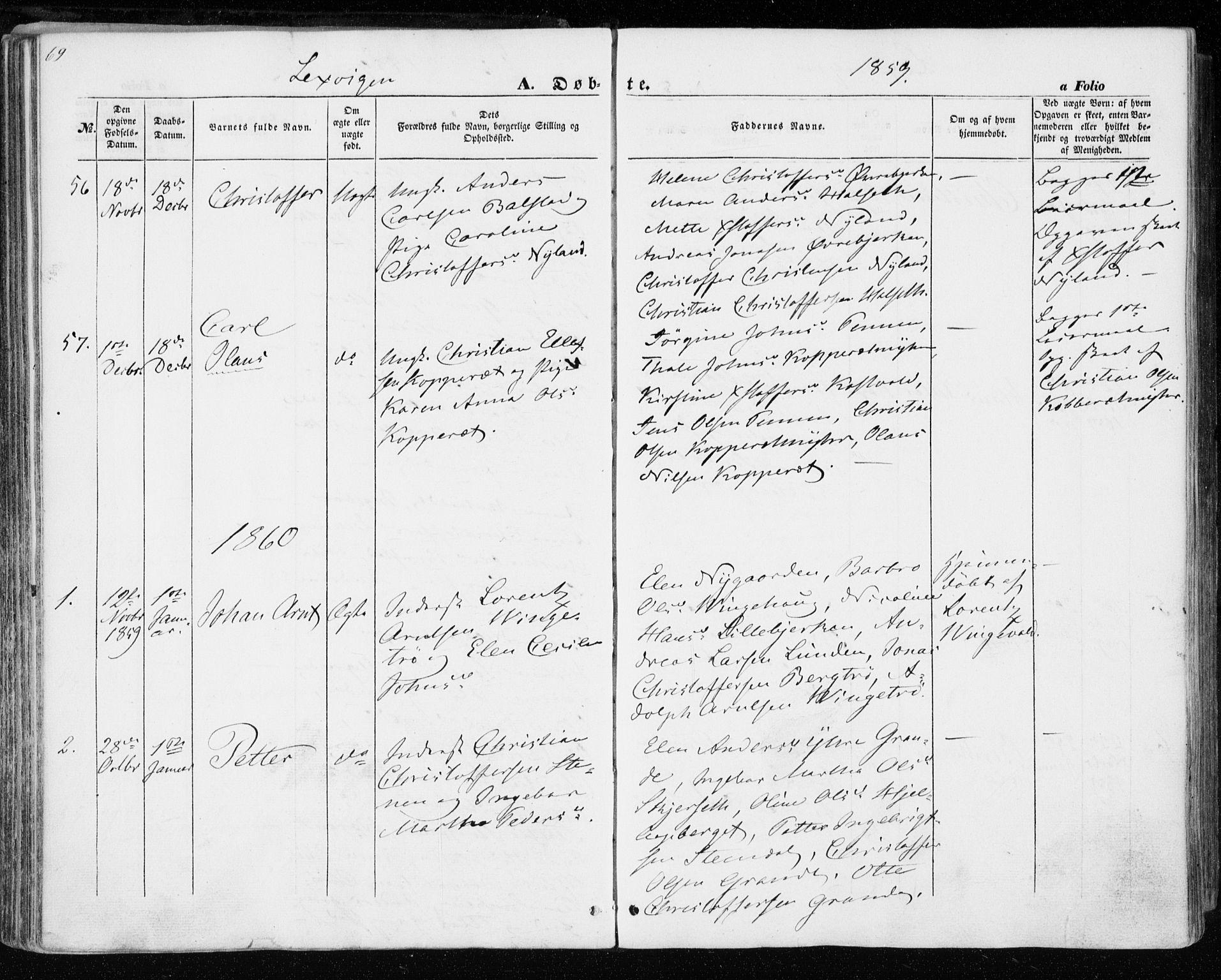 SAT, Ministerialprotokoller, klokkerbøker og fødselsregistre - Nord-Trøndelag, 701/L0008: Ministerialbok nr. 701A08 /1, 1854-1863, s. 69
