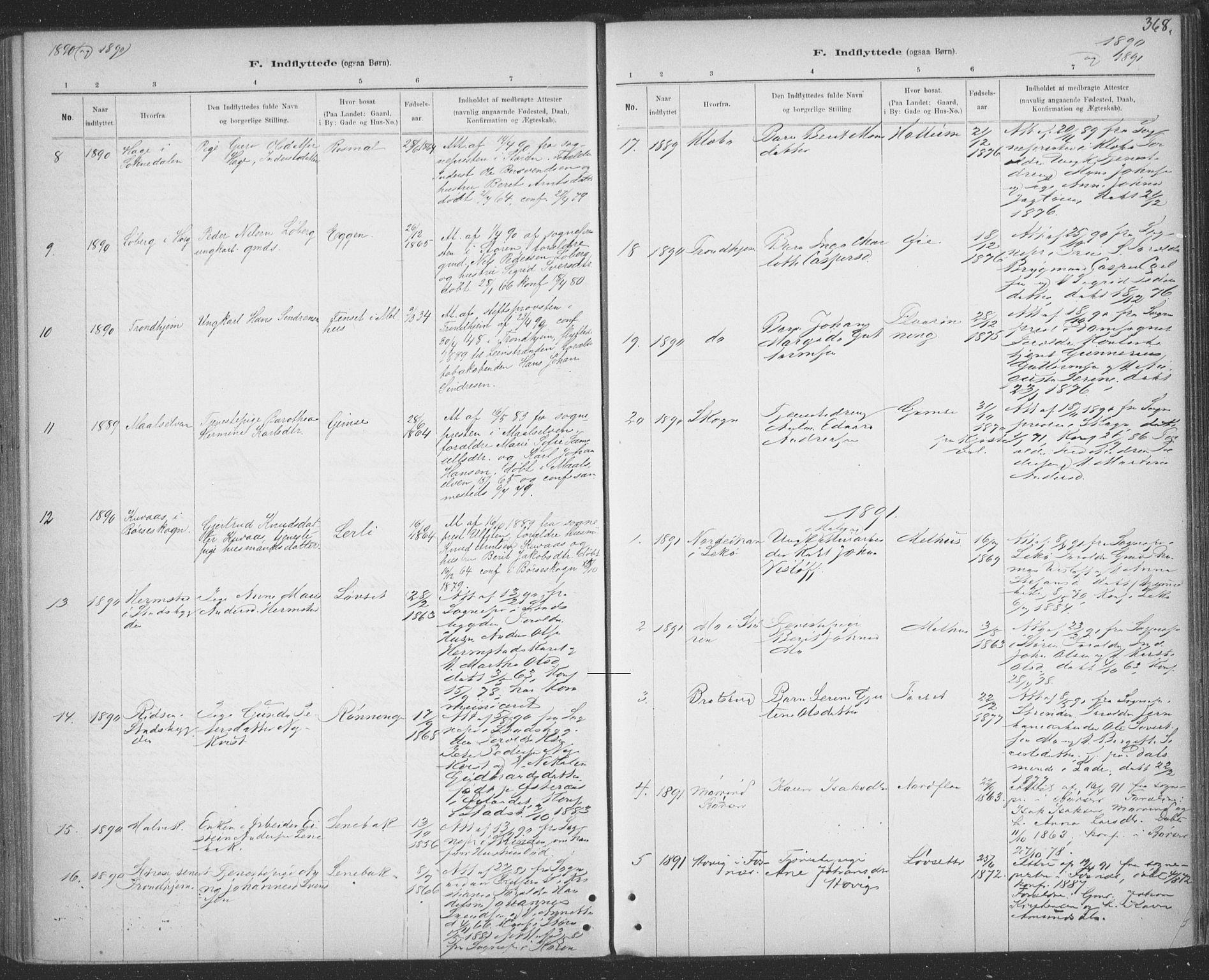 SAT, Ministerialprotokoller, klokkerbøker og fødselsregistre - Sør-Trøndelag, 691/L1085: Ministerialbok nr. 691A17, 1887-1908, s. 368