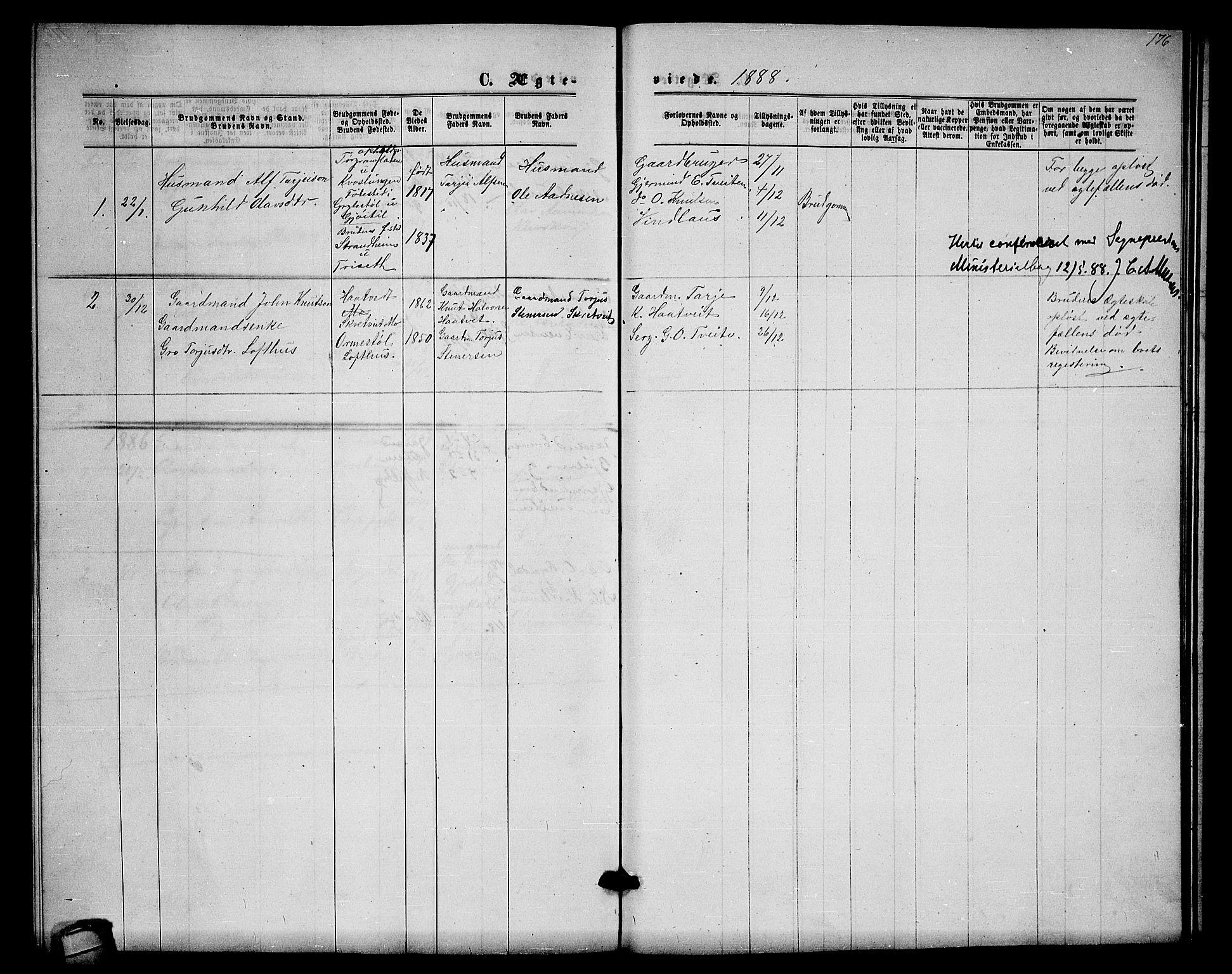 SAKO, Lårdal kirkebøker, G/Gb/L0002: Klokkerbok nr. II 2, 1865-1888, s. 176