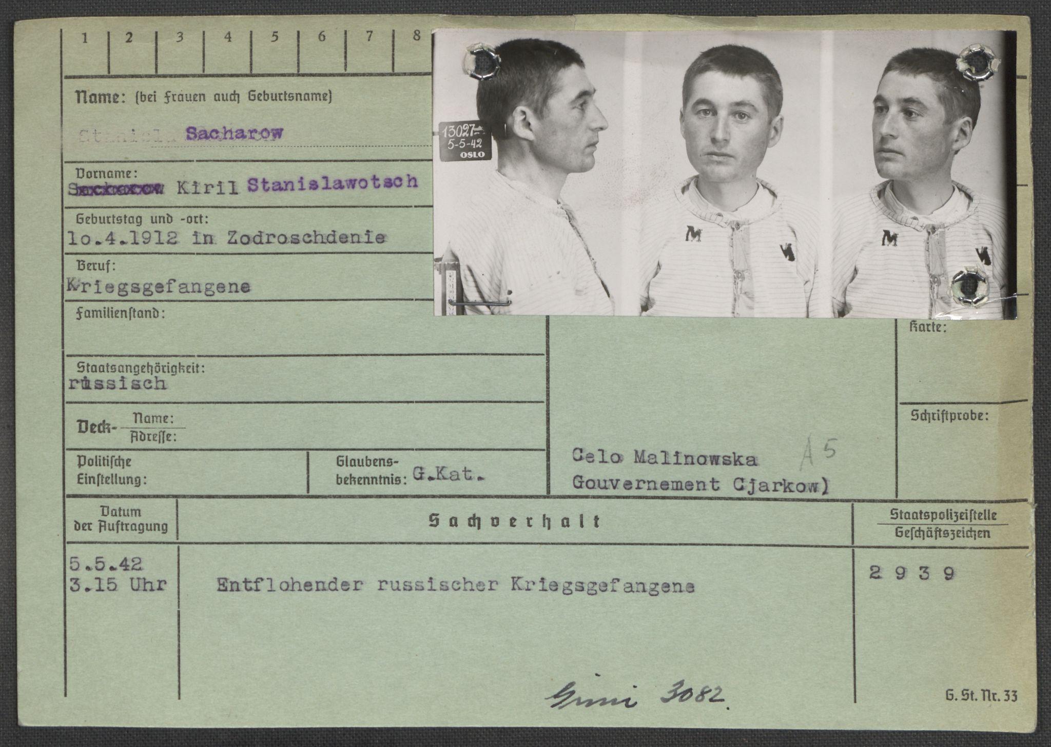 RA, Befehlshaber der Sicherheitspolizei und des SD, E/Ea/Eaa/L0009: Register over norske fanger i Møllergata 19: Ru-Sy, 1940-1945, s. 228