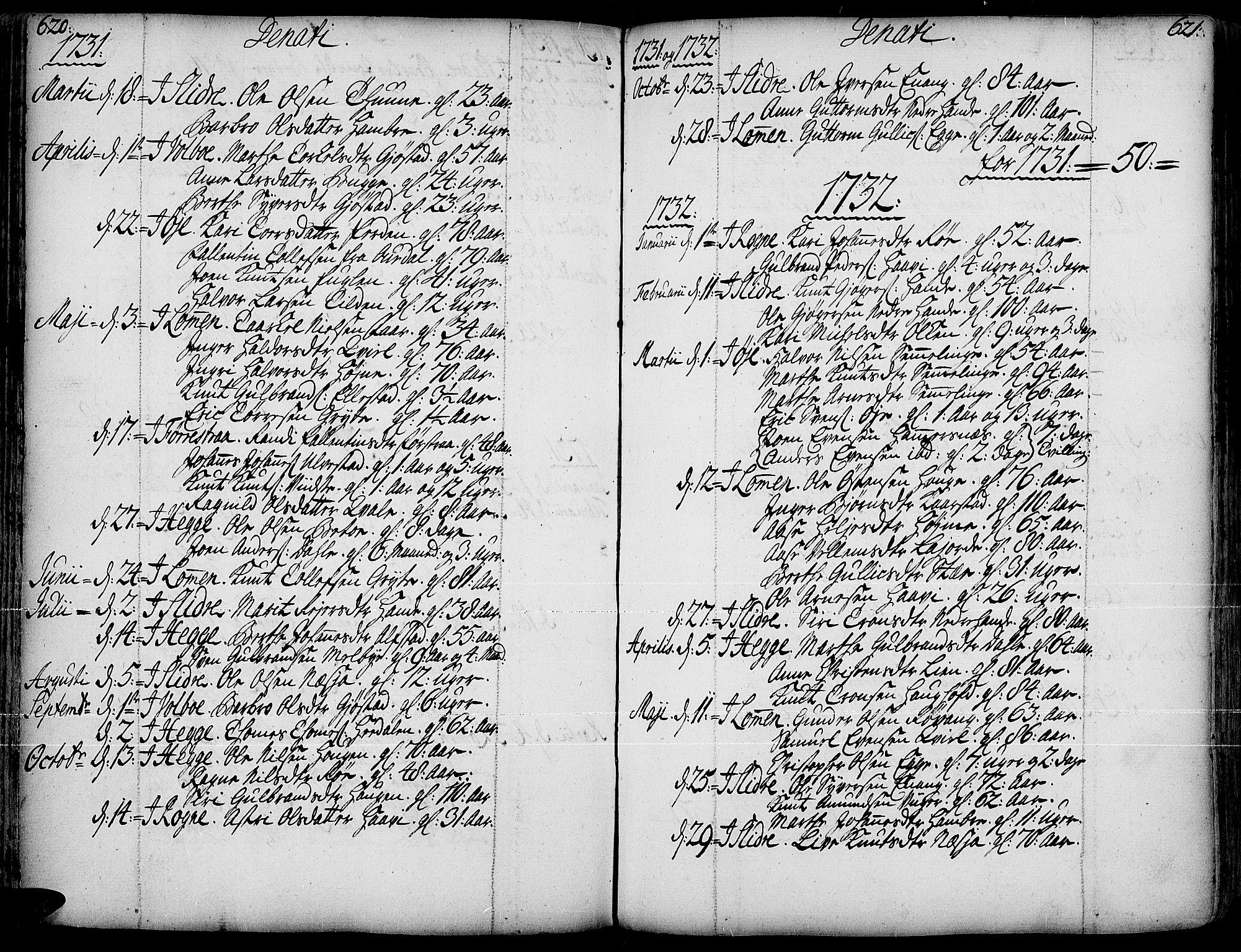 SAH, Slidre prestekontor, Ministerialbok nr. 1, 1724-1814, s. 620-621