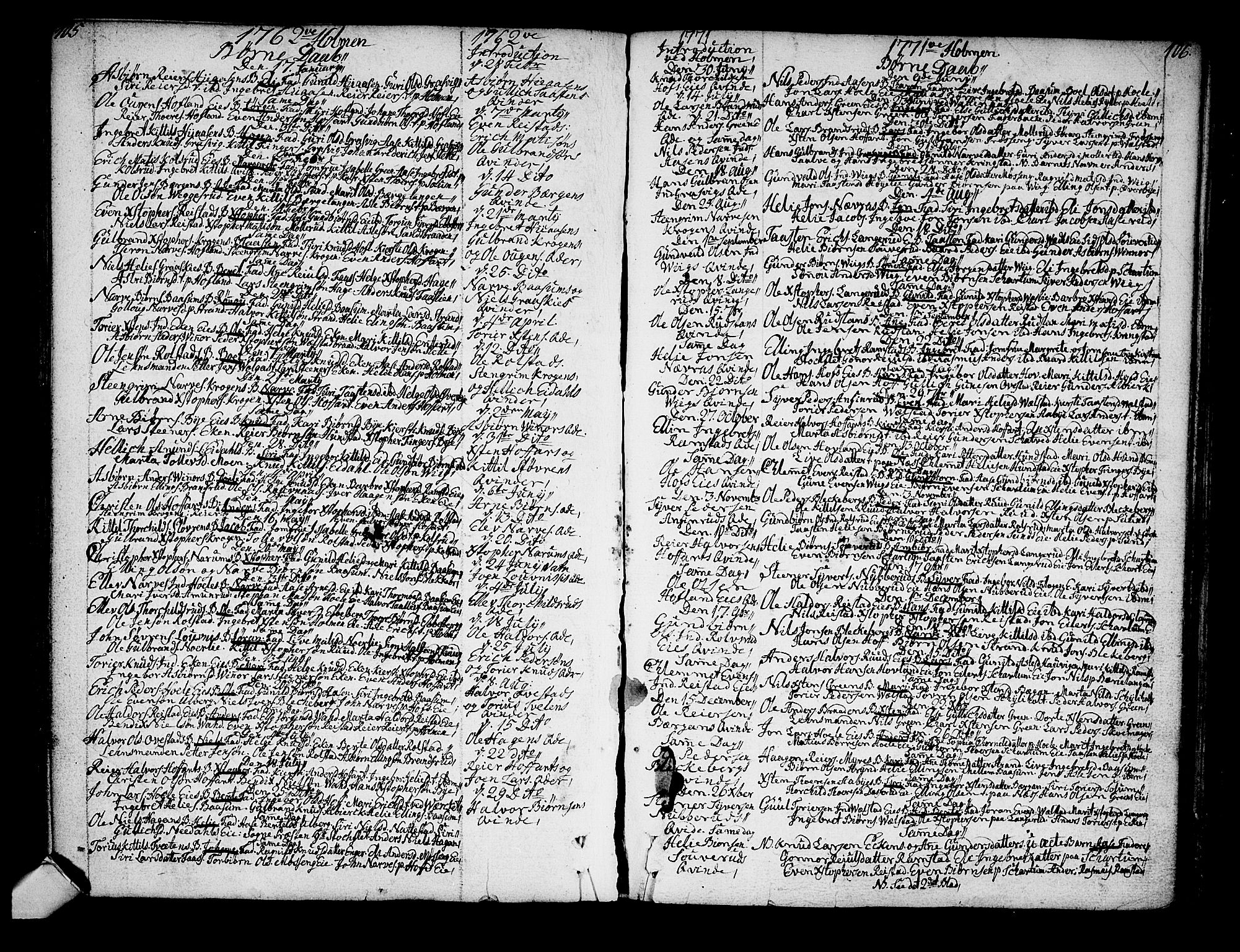 SAKO, Sigdal kirkebøker, F/Fa/L0001: Ministerialbok nr. I 1, 1722-1777, s. 105-106