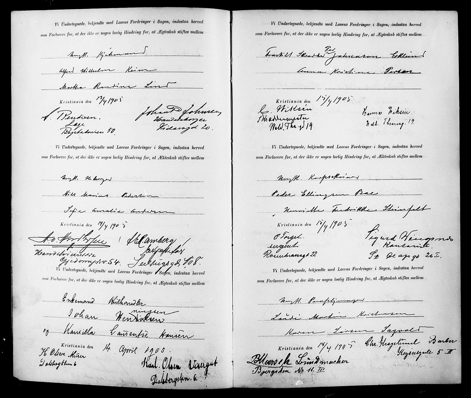 SAO, Gamle Aker prestekontor Kirkebøker, K/L0001: Forlovererklæringer nr. 1, 1905-1914