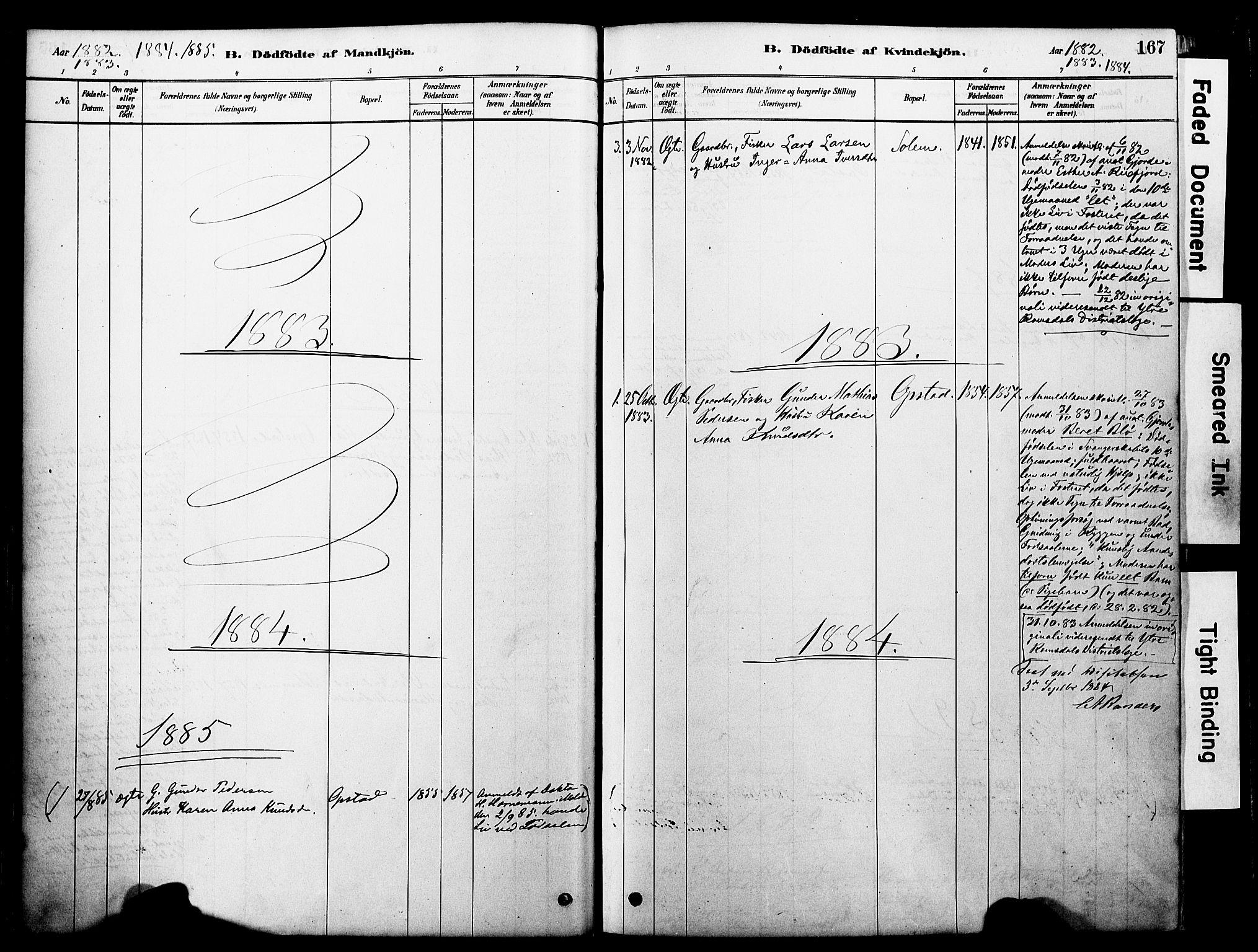 SAT, Ministerialprotokoller, klokkerbøker og fødselsregistre - Møre og Romsdal, 560/L0721: Ministerialbok nr. 560A05, 1878-1917, s. 167