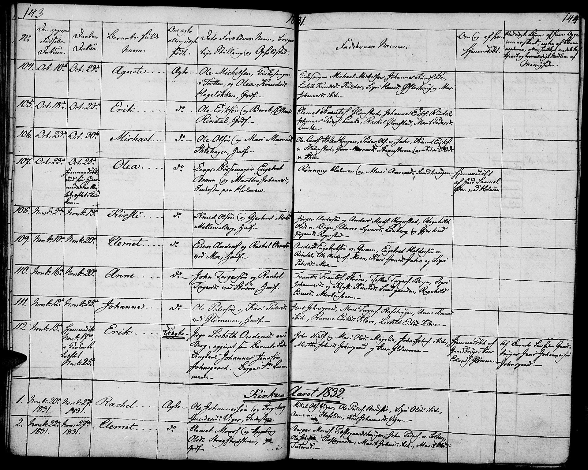 SAH, Øyer prestekontor, Ministerialbok nr. 4, 1824-1841, s. 143-144