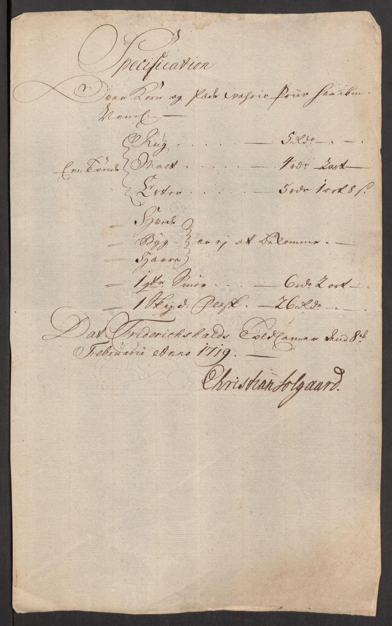 RA, Rentekammeret inntil 1814, Realistisk ordnet avdeling, Oe/L0001: [Ø1]: Priskuranter, 1712-1739, s. 65