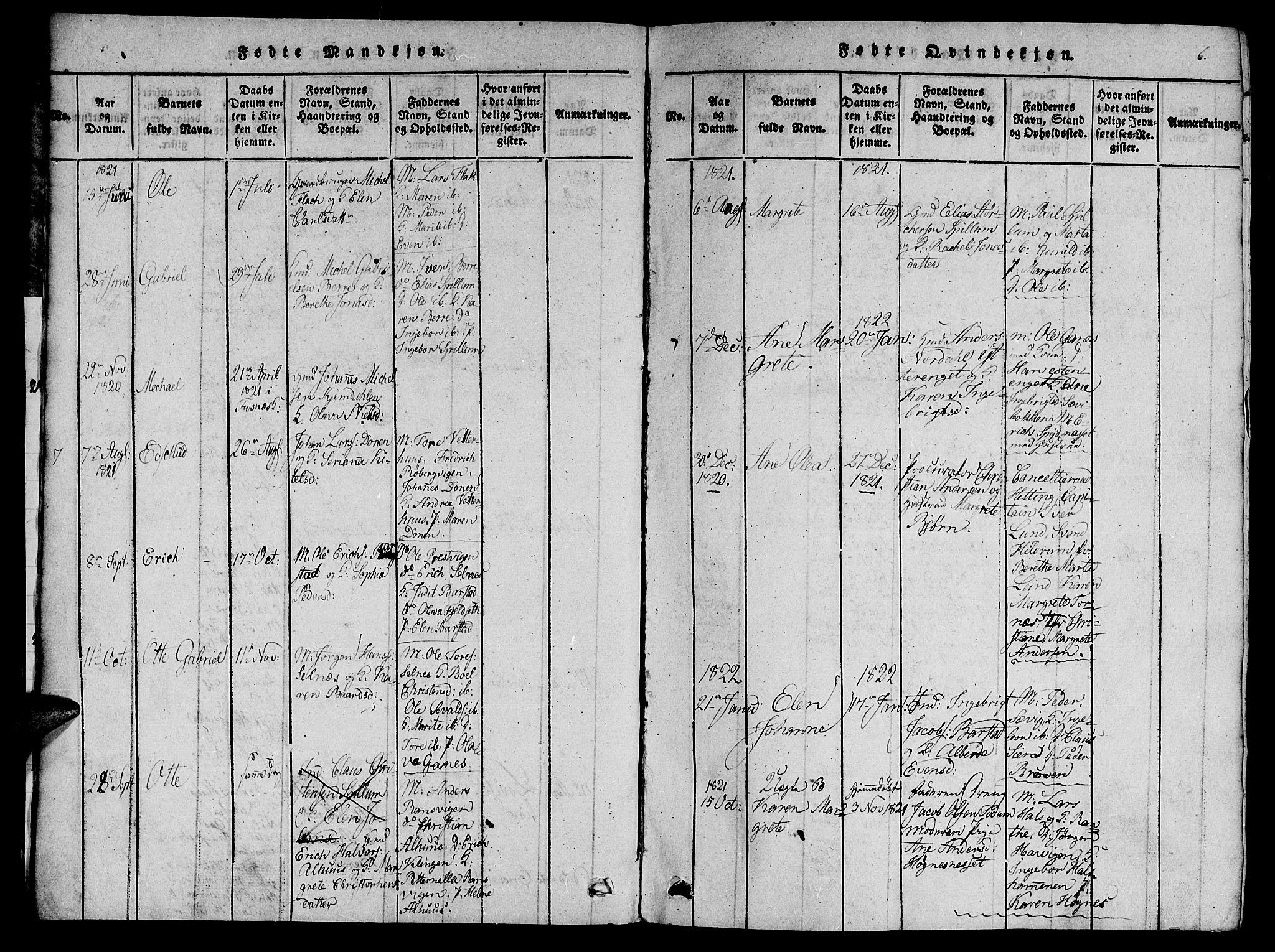 SAT, Ministerialprotokoller, klokkerbøker og fødselsregistre - Nord-Trøndelag, 770/L0588: Ministerialbok nr. 770A02, 1819-1823, s. 6