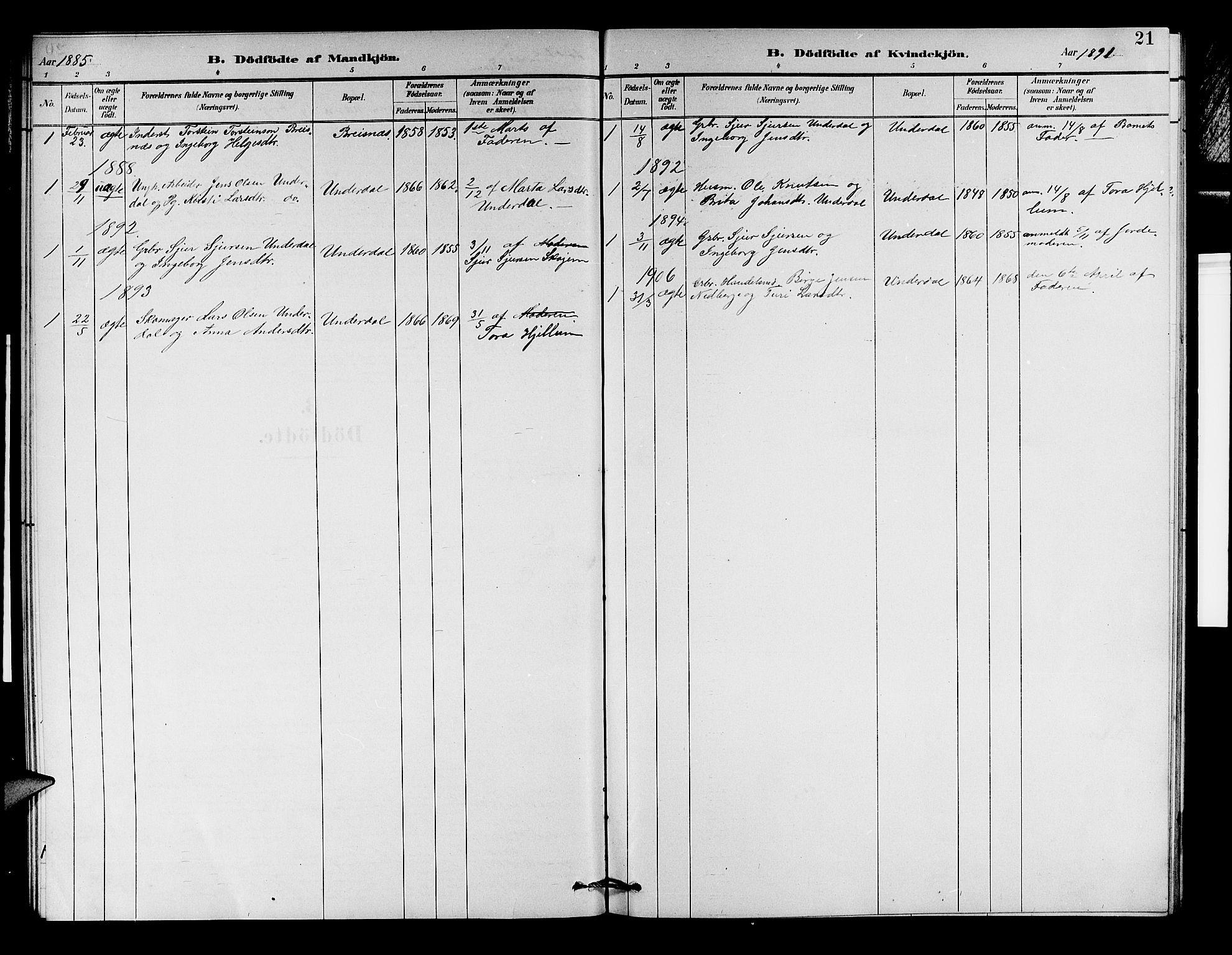 SAB, Aurland Sokneprestembete*, Klokkerbok nr. D 2, 1883-1920, s. 21