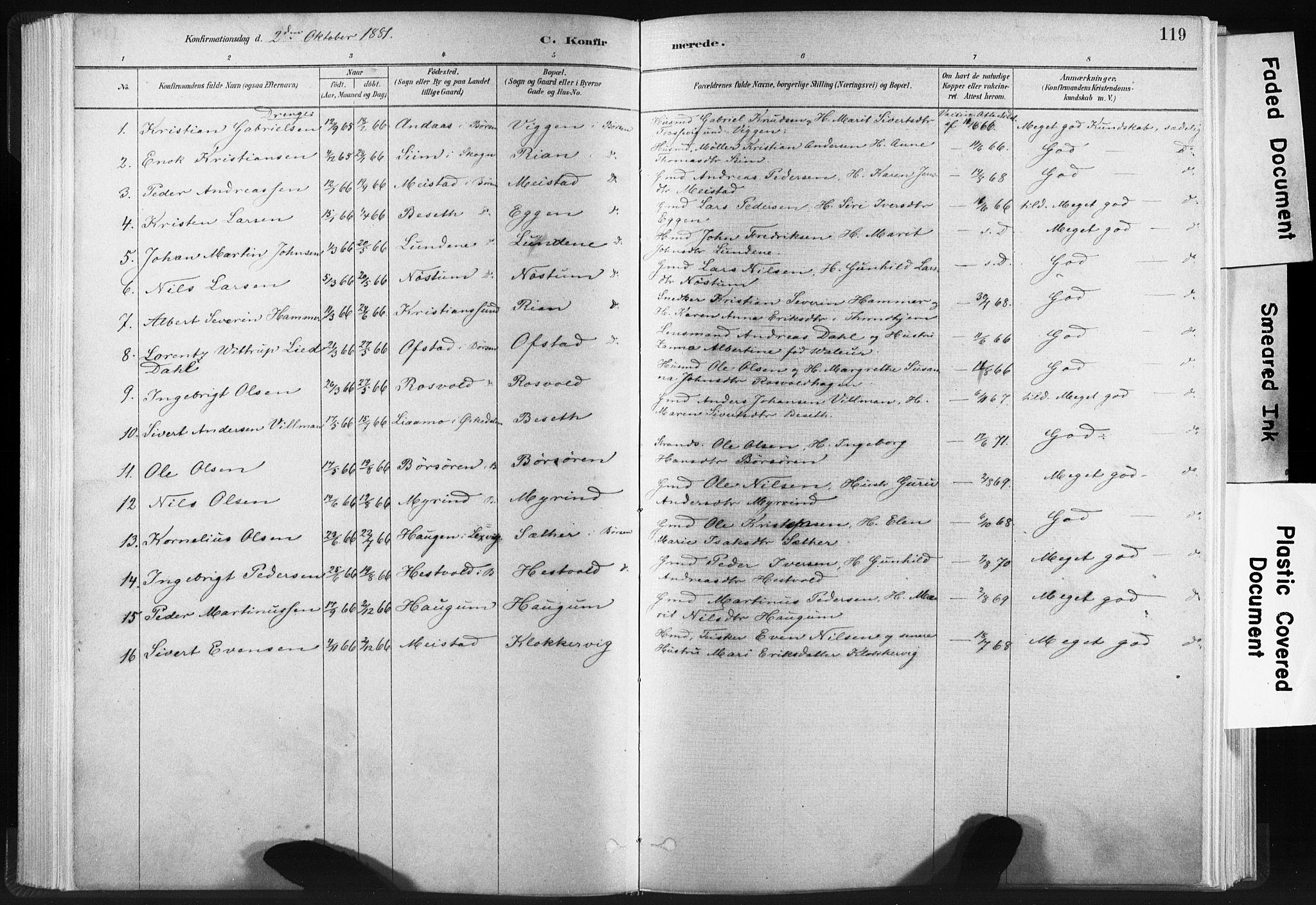 SAT, Ministerialprotokoller, klokkerbøker og fødselsregistre - Sør-Trøndelag, 665/L0773: Ministerialbok nr. 665A08, 1879-1905, s. 119