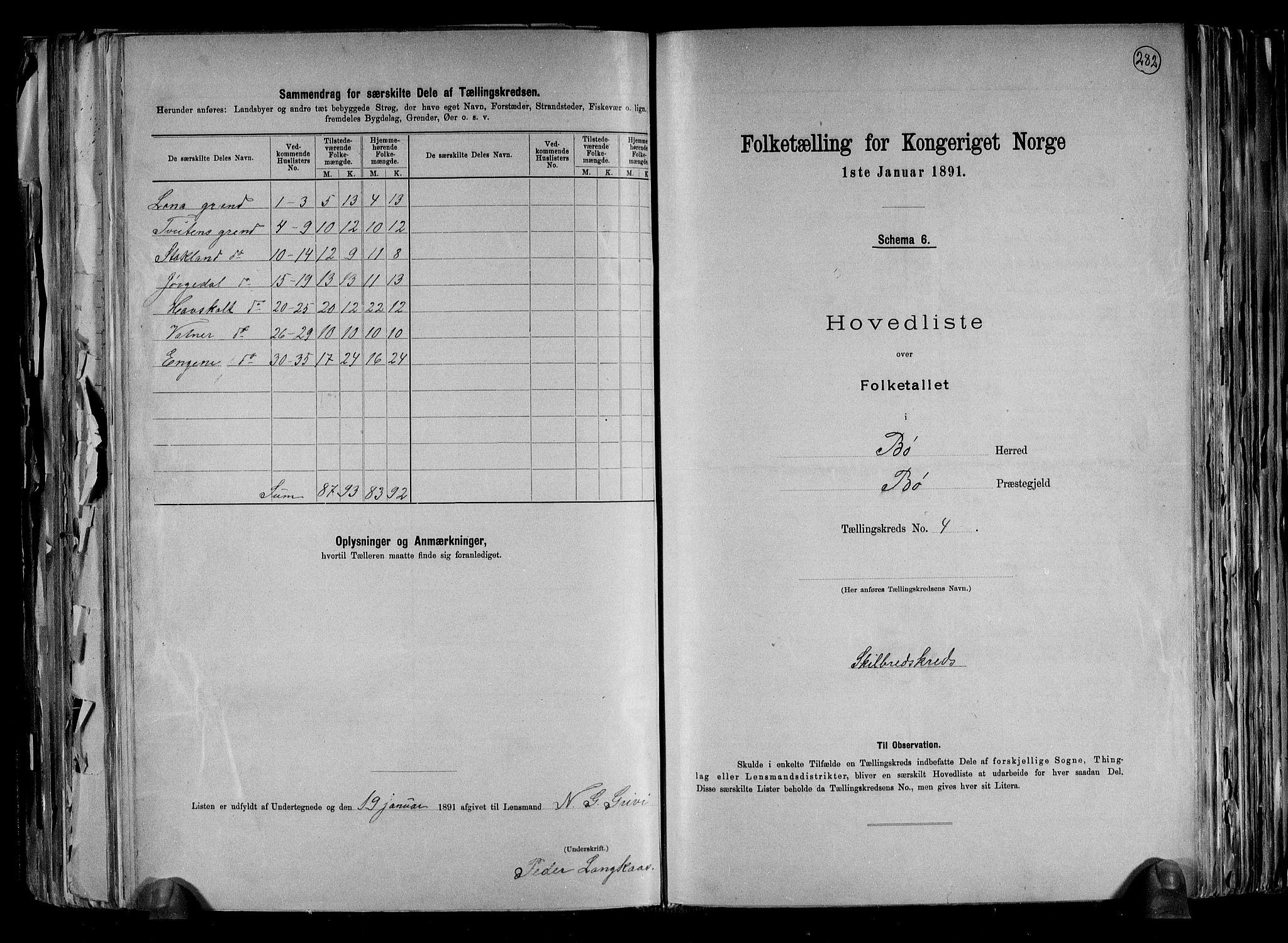 RA, Folketelling 1891 for 0821 Bø herred, 1891, s. 10