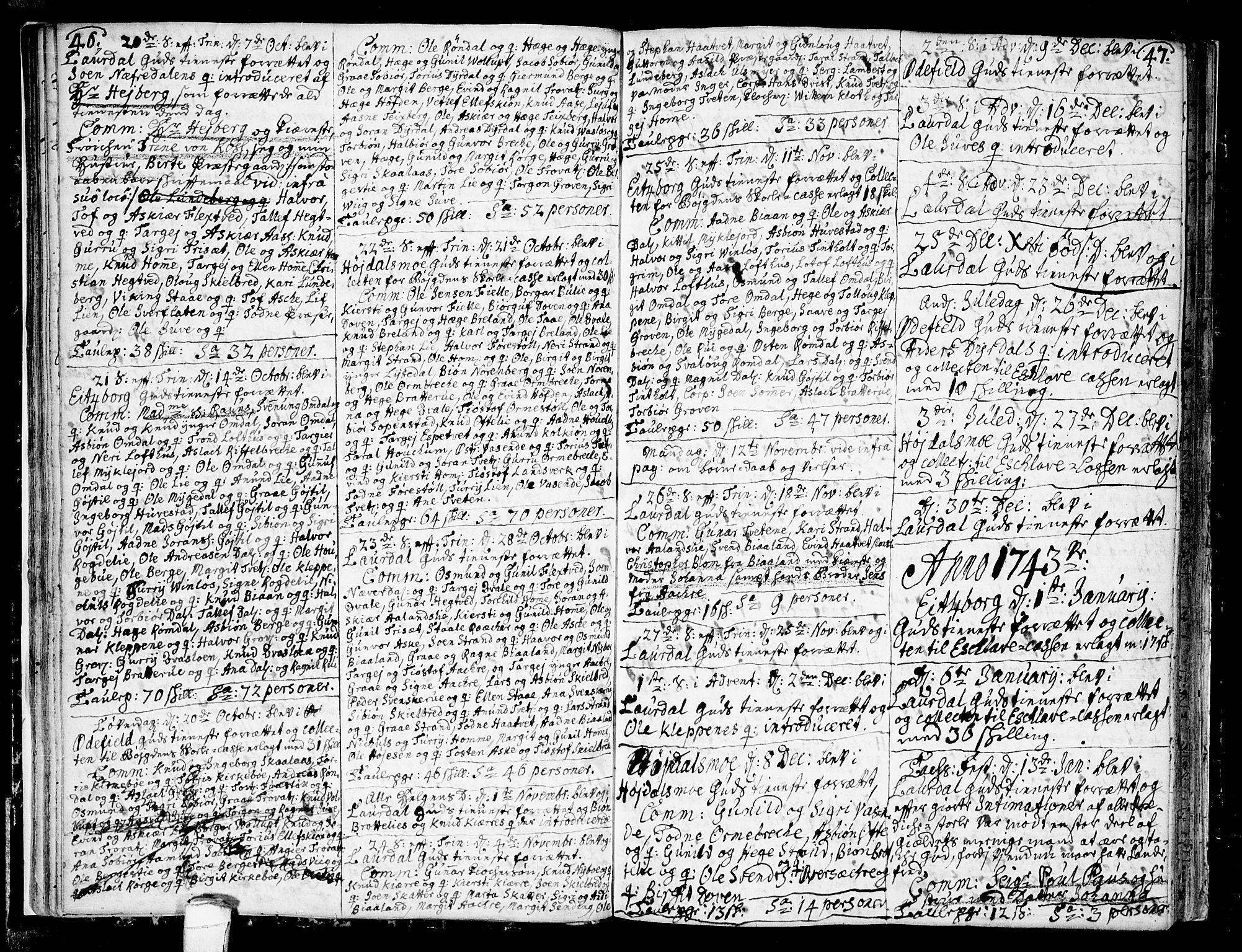SAKO, Lårdal kirkebøker, F/Fa/L0002: Ministerialbok nr. I 2, 1734-1754, s. 46-47
