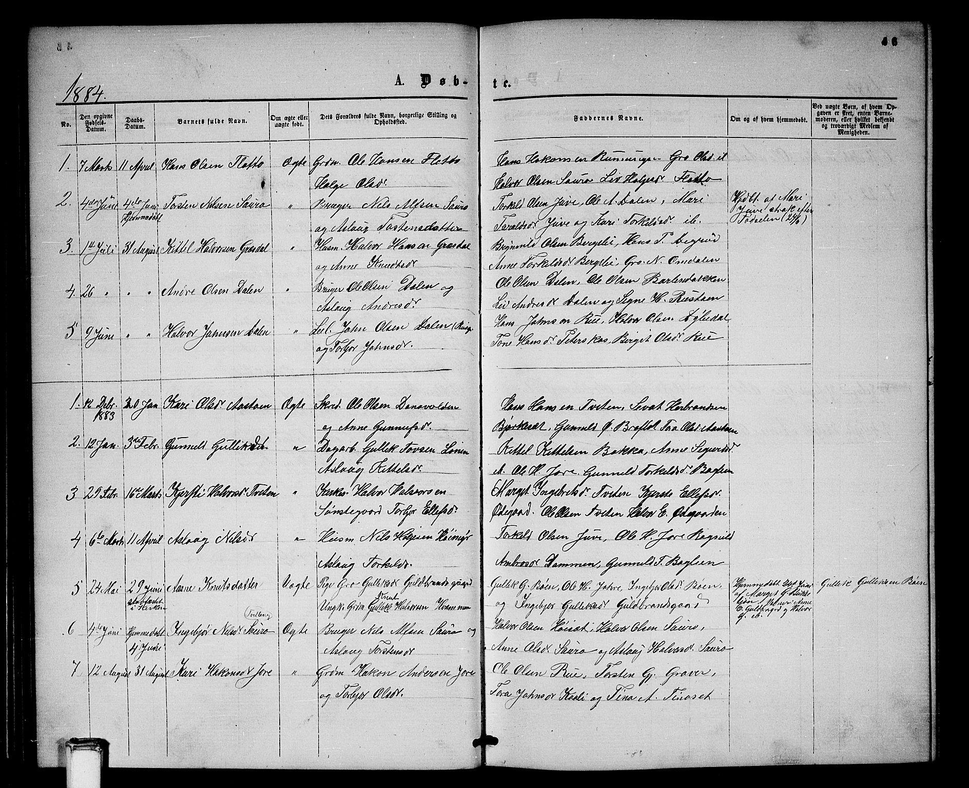 SAKO, Gransherad kirkebøker, G/Gb/L0002: Klokkerbok nr. II 2, 1860-1886, s. 46