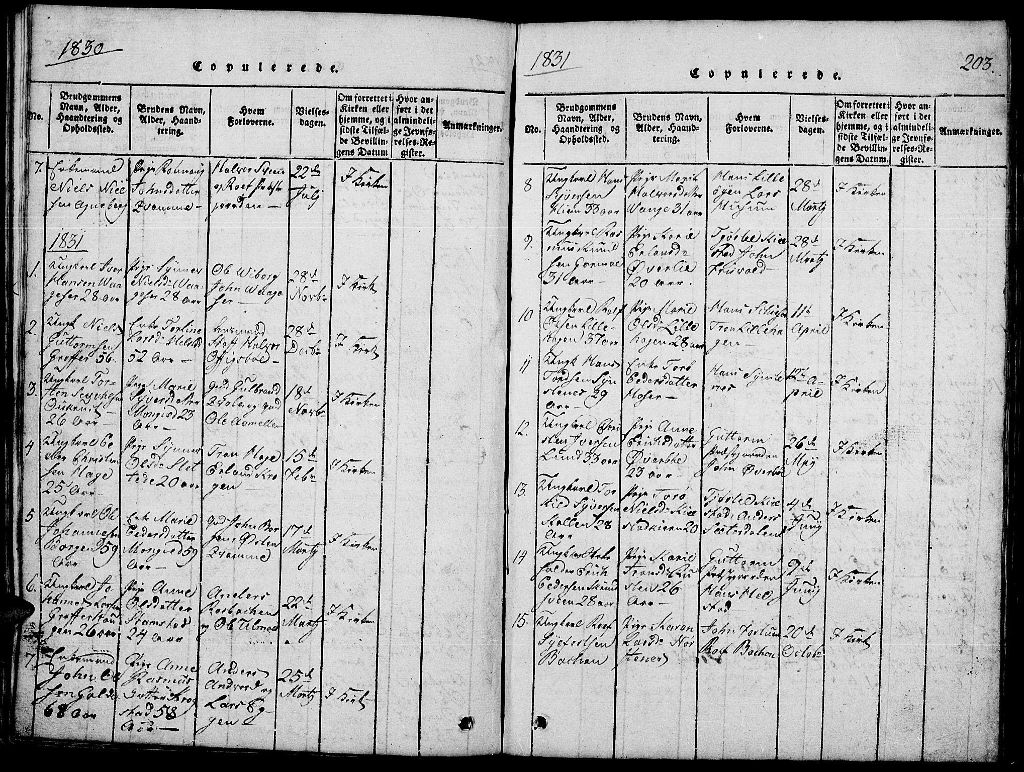 SAH, Lom prestekontor, L/L0001: Klokkerbok nr. 1, 1815-1836, s. 203