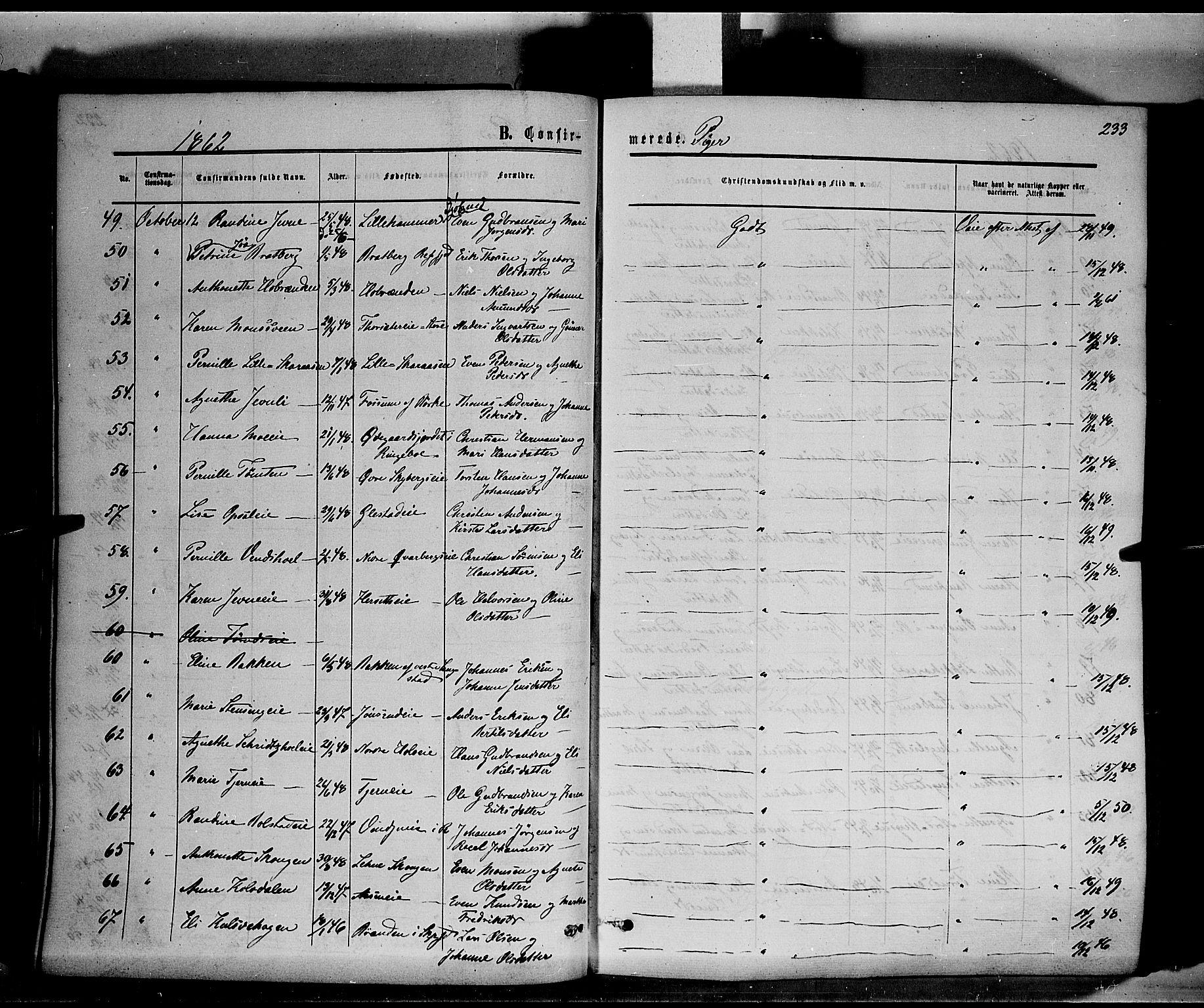 SAH, Ringsaker prestekontor, K/Ka/L0010: Ministerialbok nr. 10, 1861-1869, s. 233