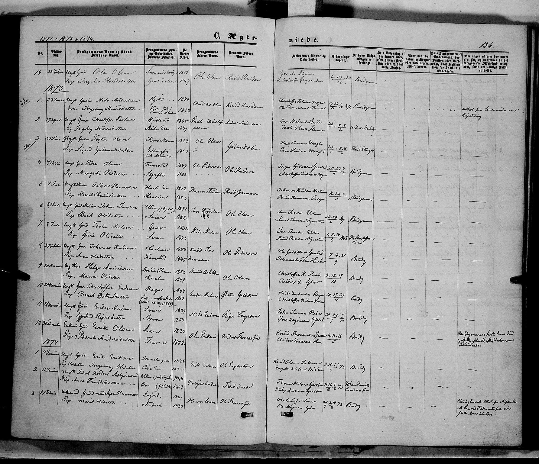 SAH, Vang prestekontor, Valdres, Ministerialbok nr. 7, 1865-1881, s. 136