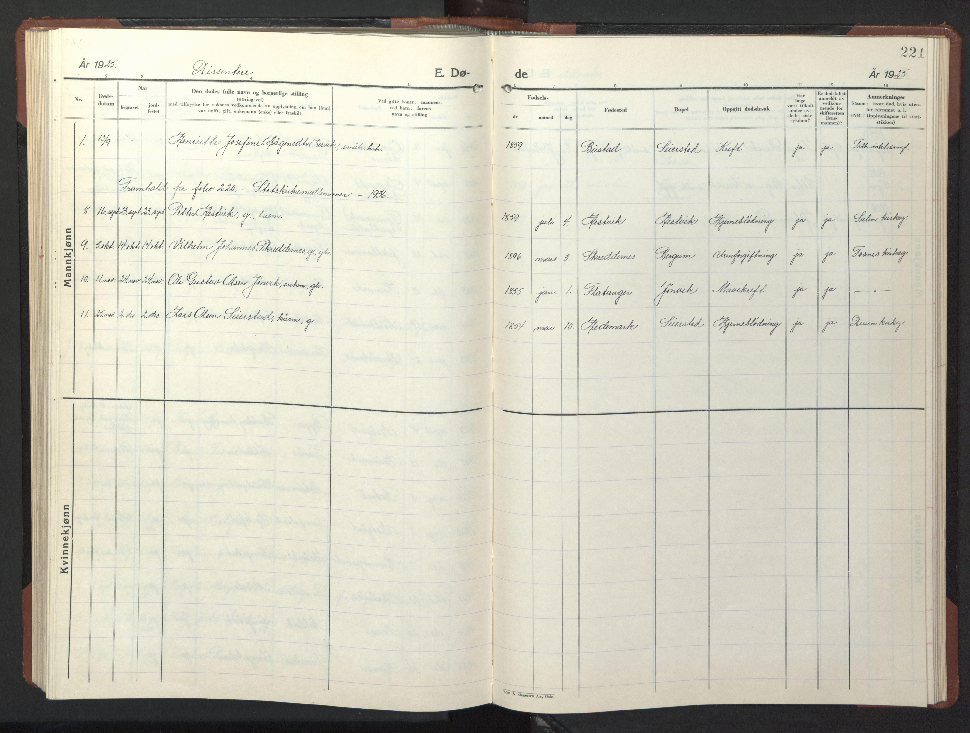 SAT, Ministerialprotokoller, klokkerbøker og fødselsregistre - Nord-Trøndelag, 773/L0625: Klokkerbok nr. 773C01, 1910-1952, s. 221