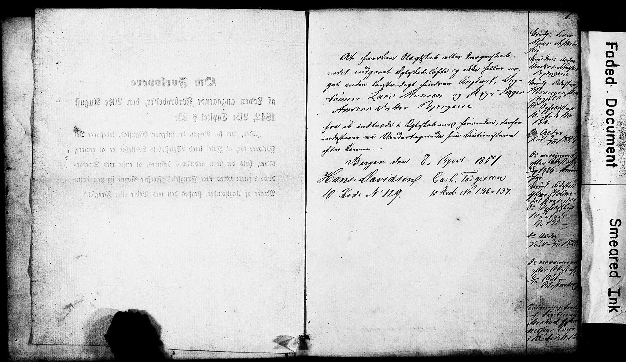 SAB, Domkirken Sokneprestembete, Forlovererklæringer nr. II.5.5, 1857-1863, s. 1