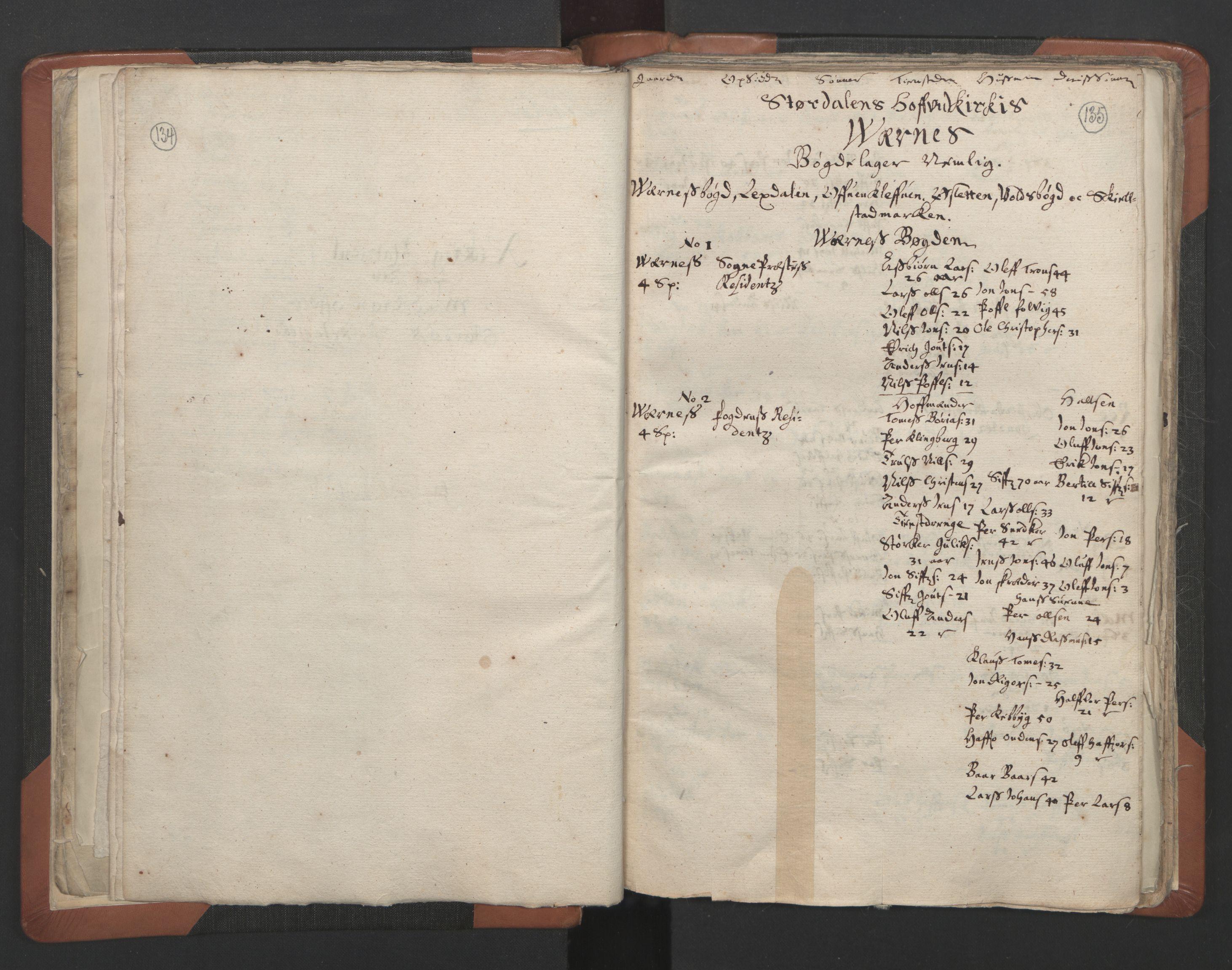 RA, Sogneprestenes manntall 1664-1666, nr. 32: Innherad prosti, 1664-1666, s. 134-135