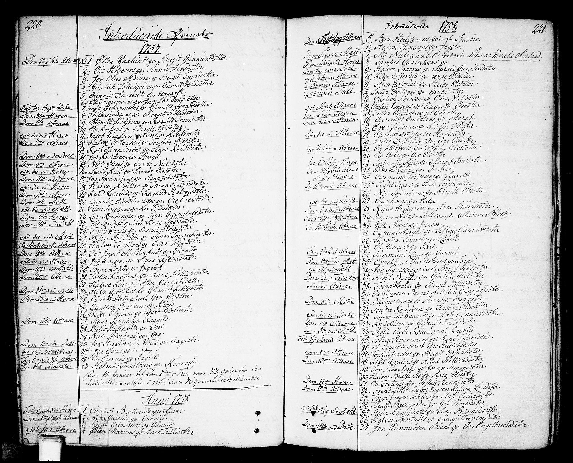 SAKO, Tinn kirkebøker, F/Fa/L0002: Ministerialbok nr. I 2, 1757-1810, s. 220-221