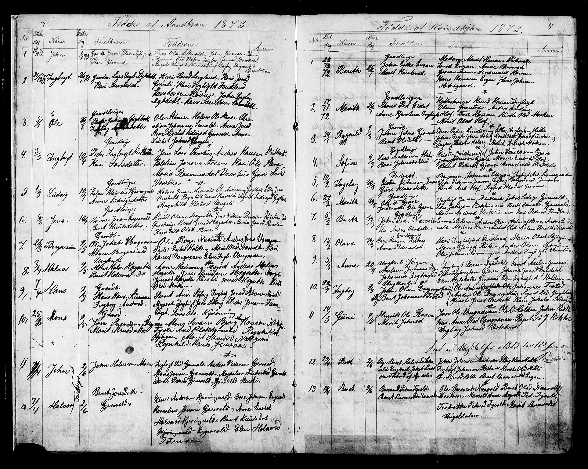 SAT, Ministerialprotokoller, klokkerbøker og fødselsregistre - Sør-Trøndelag, 686/L0985: Klokkerbok nr. 686C01, 1871-1933, s. 5