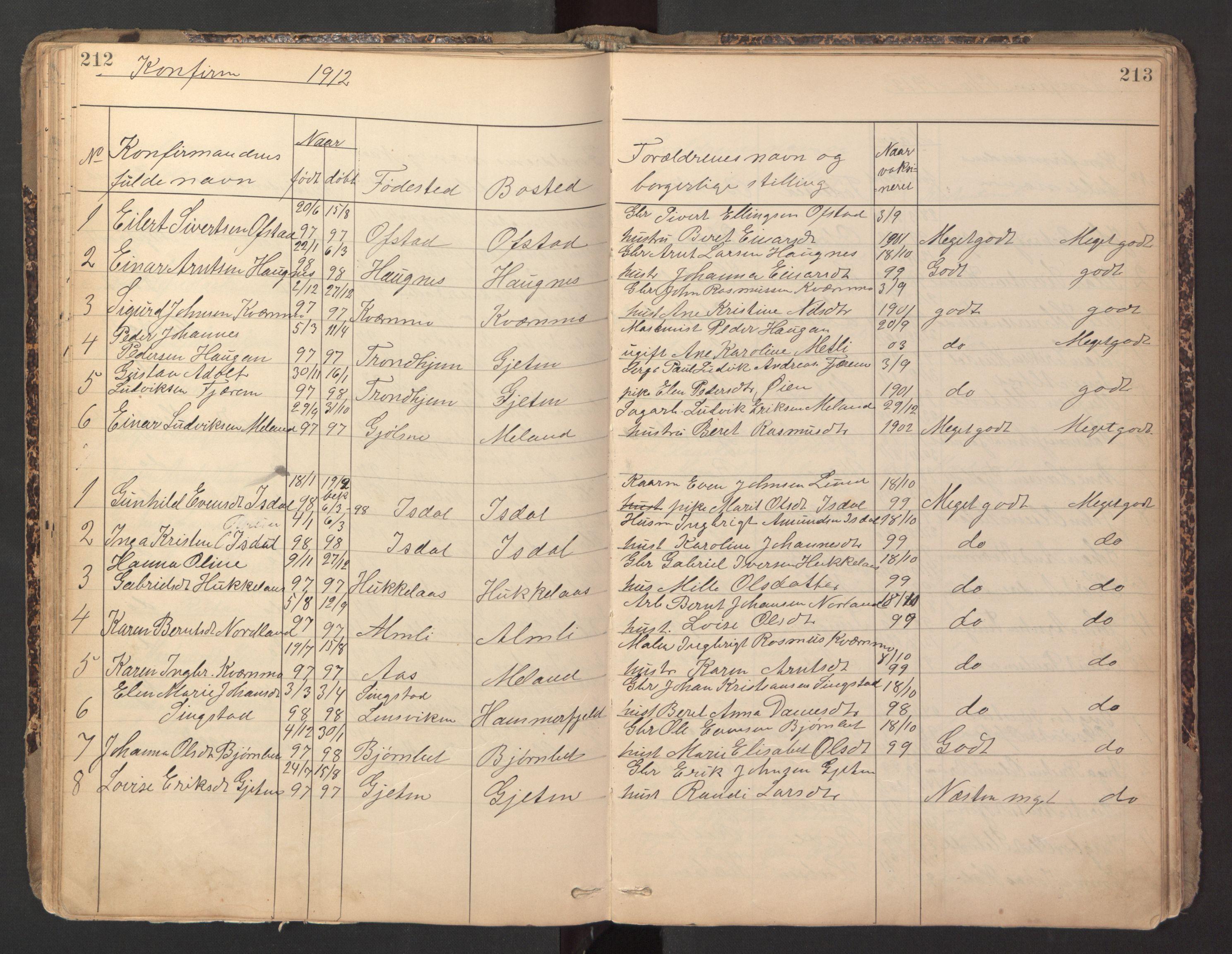 SAT, Ministerialprotokoller, klokkerbøker og fødselsregistre - Sør-Trøndelag, 670/L0837: Klokkerbok nr. 670C01, 1905-1946, s. 212-213