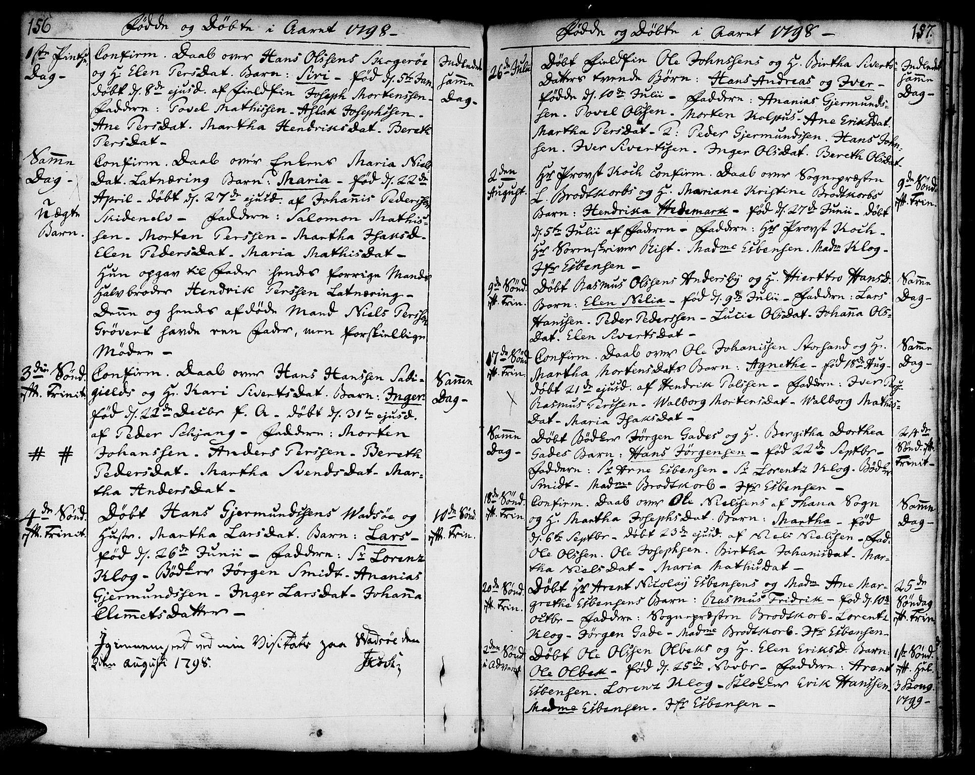 SATØ, Vadsø soknepreskontor, H/Ha/L0002kirke: Ministerialbok nr. 2, 1764-1821, s. 156-157