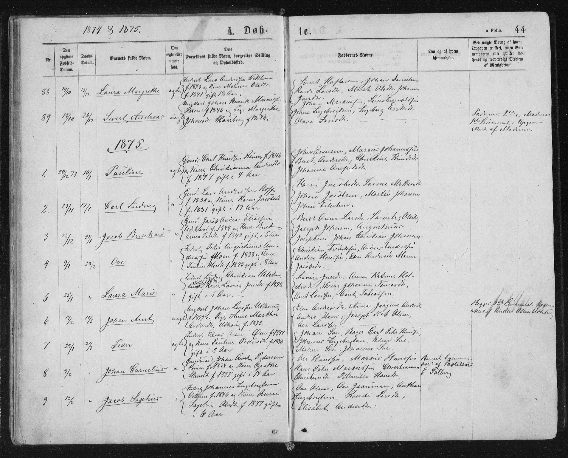 SAT, Ministerialprotokoller, klokkerbøker og fødselsregistre - Sør-Trøndelag, 659/L0745: Klokkerbok nr. 659C02, 1869-1892, s. 44