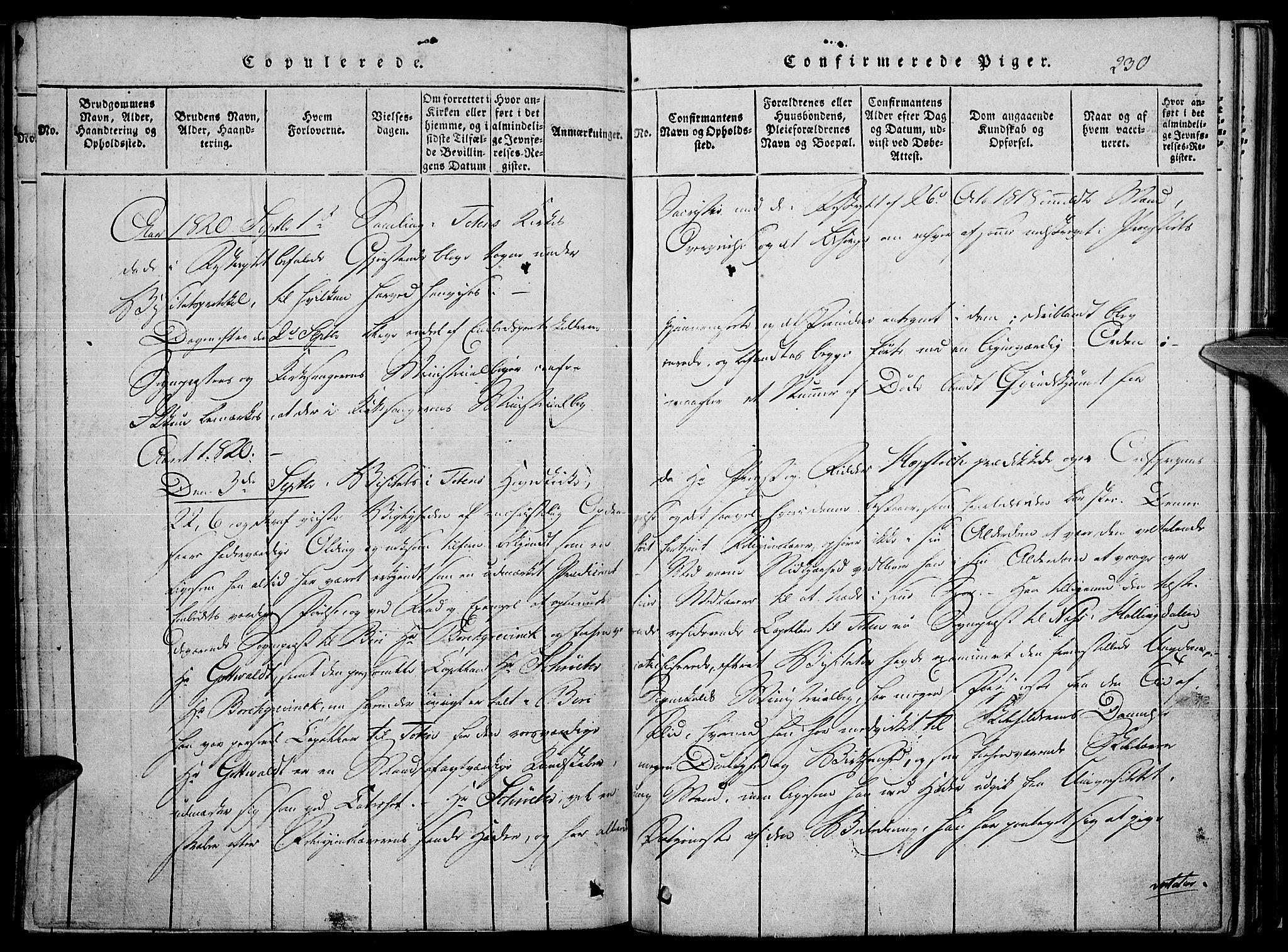 SAH, Toten prestekontor, Ministerialbok nr. 10, 1820-1828, s. 230