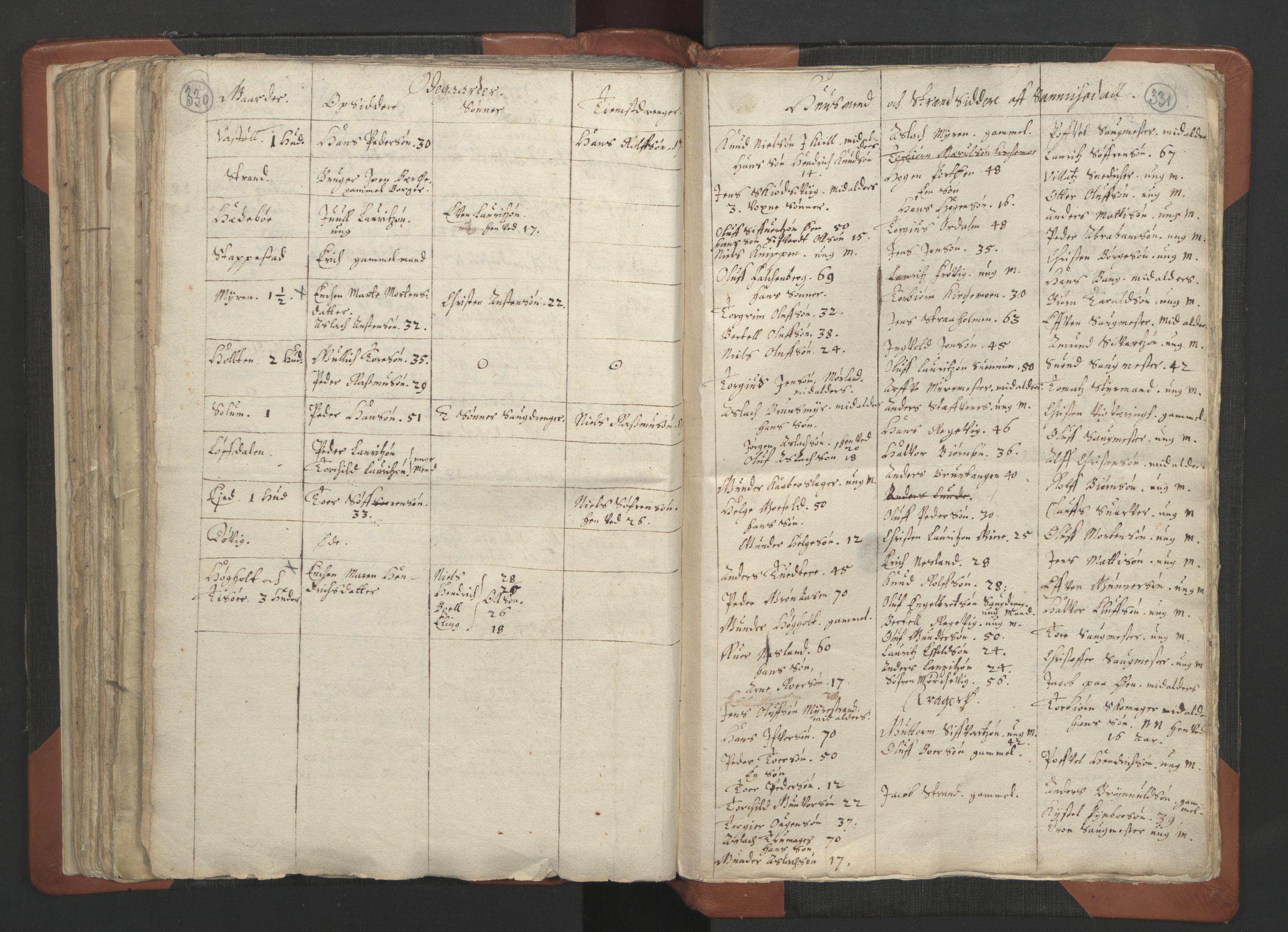 RA, Sogneprestenes manntall 1664-1666, nr. 12: Øvre Telemark prosti, Nedre Telemark prosti og Bamble prosti, 1664-1666, s. 330-331