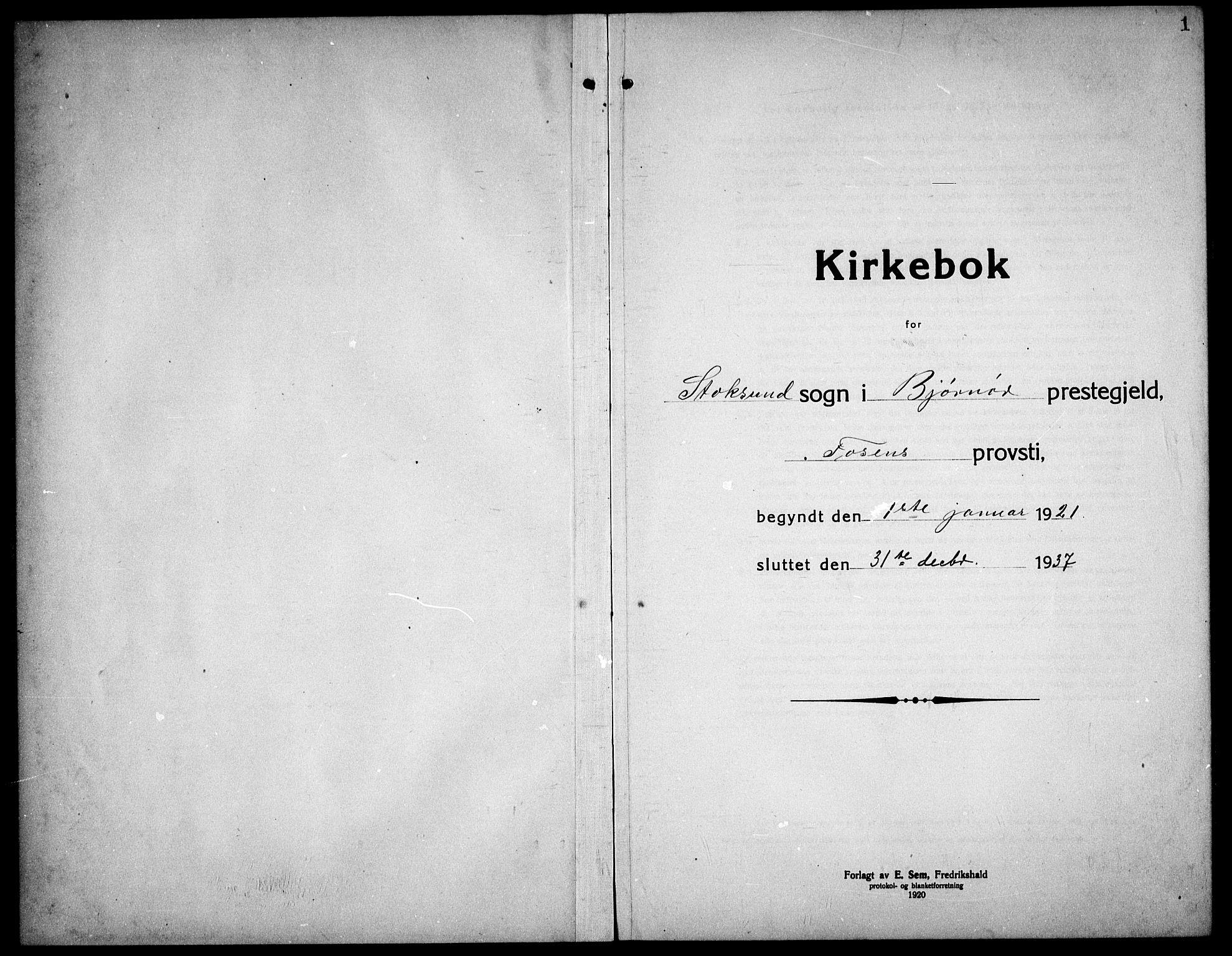 SAT, Ministerialprotokoller, klokkerbøker og fødselsregistre - Sør-Trøndelag, 656/L0696: Klokkerbok nr. 656C02, 1921-1937, s. 1