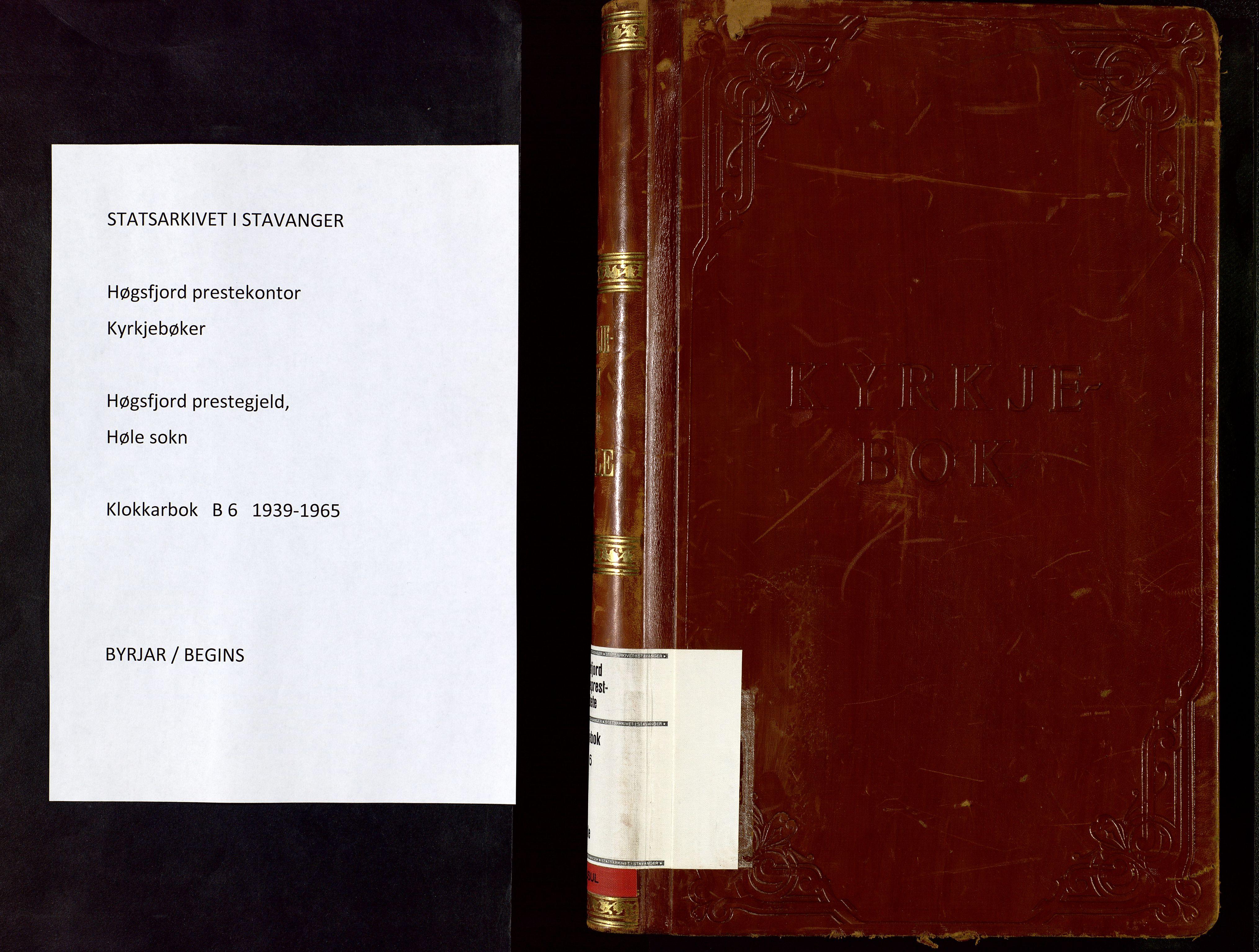 SAST, Høgsfjord sokneprestkontor, H/Ha/Hab/L0006: Klokkerbok nr. B 6, 1939-1965