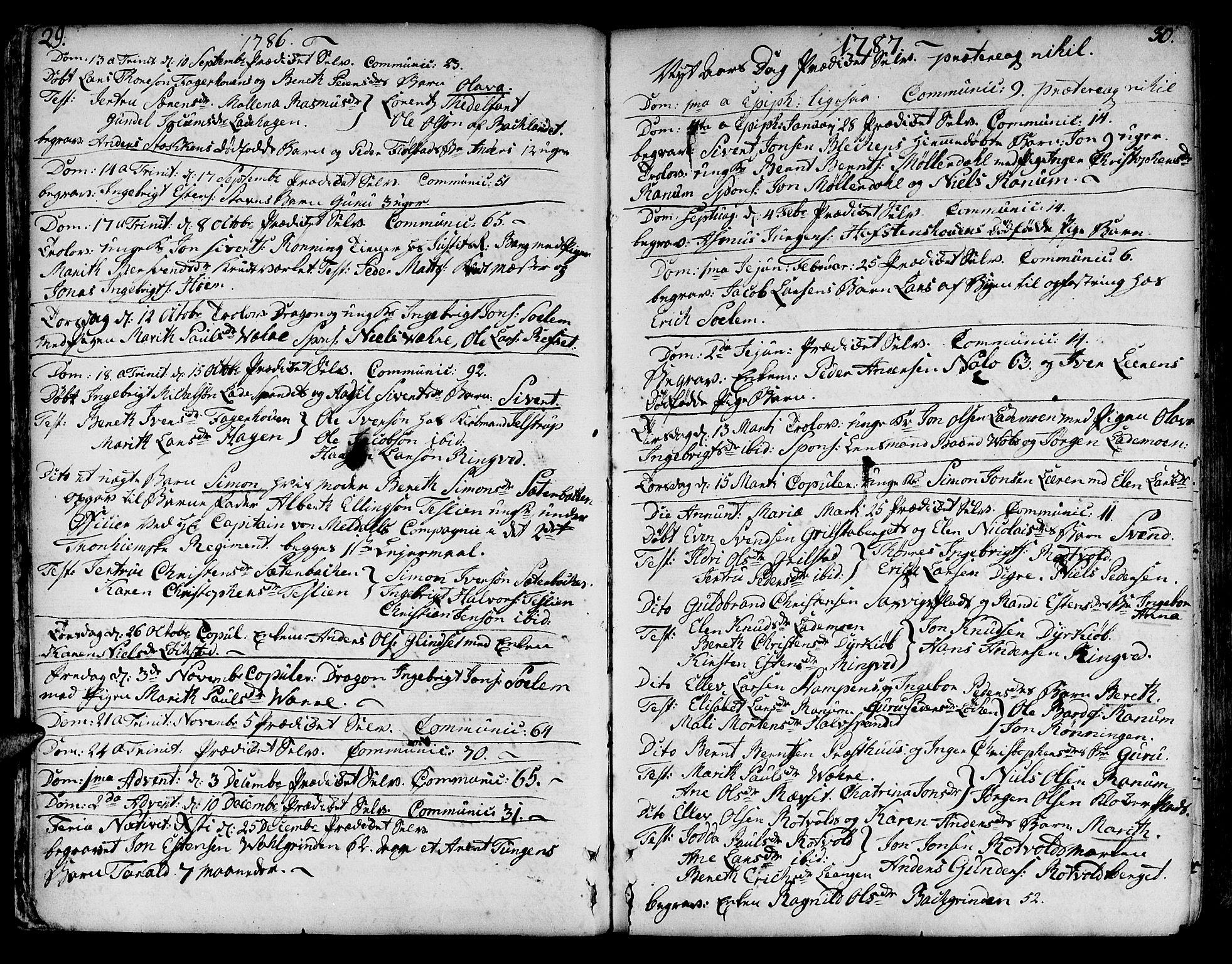 SAT, Ministerialprotokoller, klokkerbøker og fødselsregistre - Sør-Trøndelag, 606/L0280: Ministerialbok nr. 606A02 /1, 1781-1817, s. 29-30